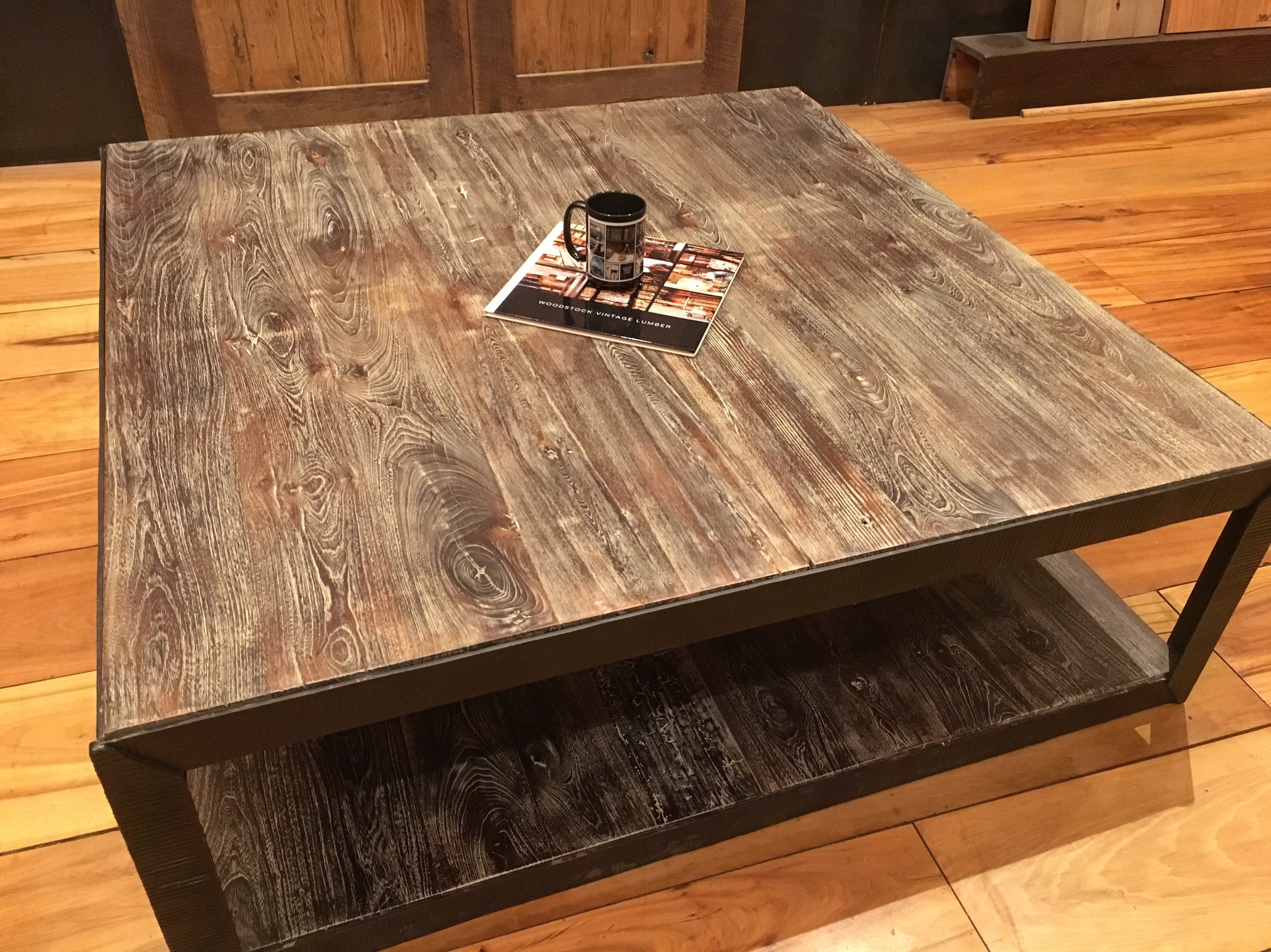 Burned Oak Square Coffee Table