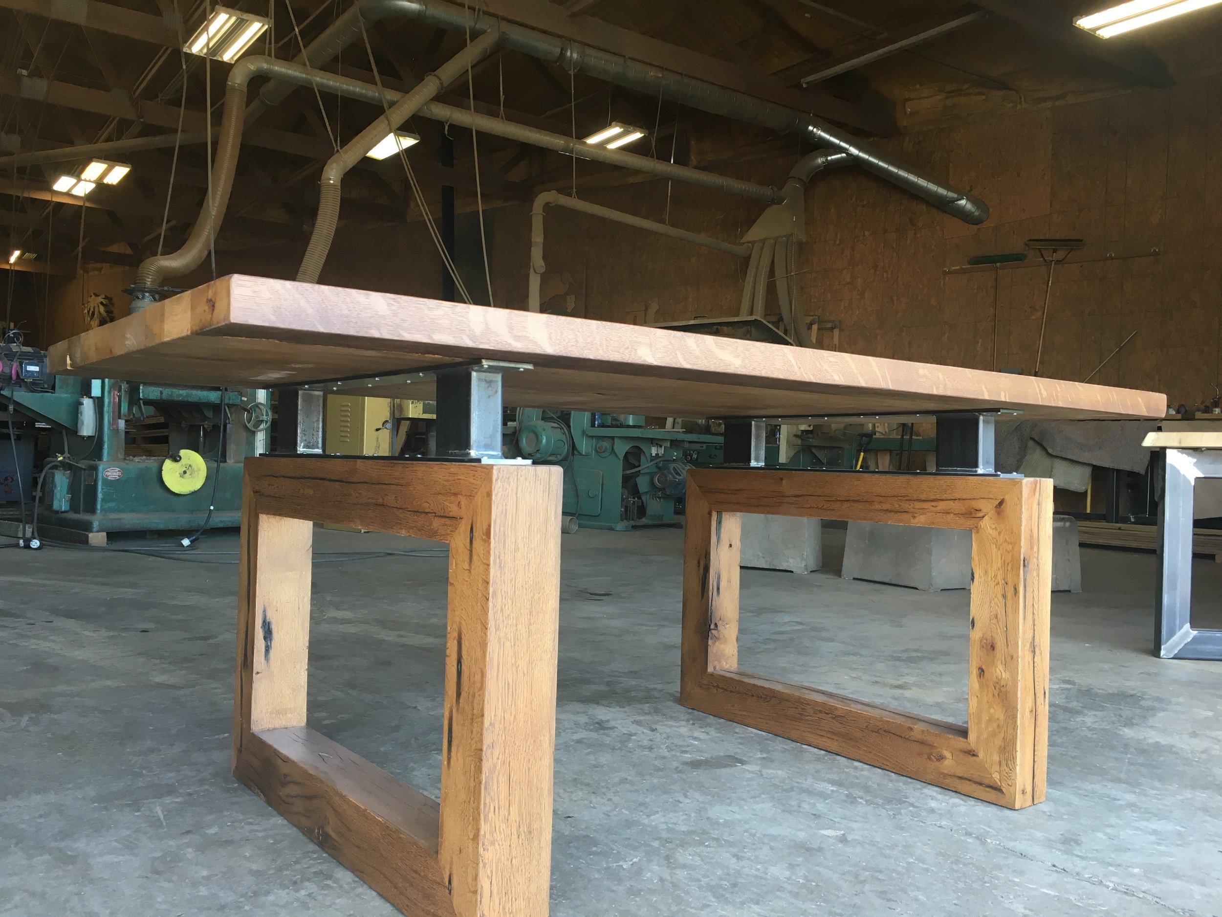 Clean white oak dining table.JPG