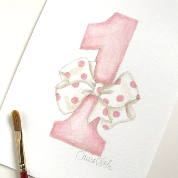 Birthday Number One Illustration by Carrie Beth Taylor for Sugar B Designs