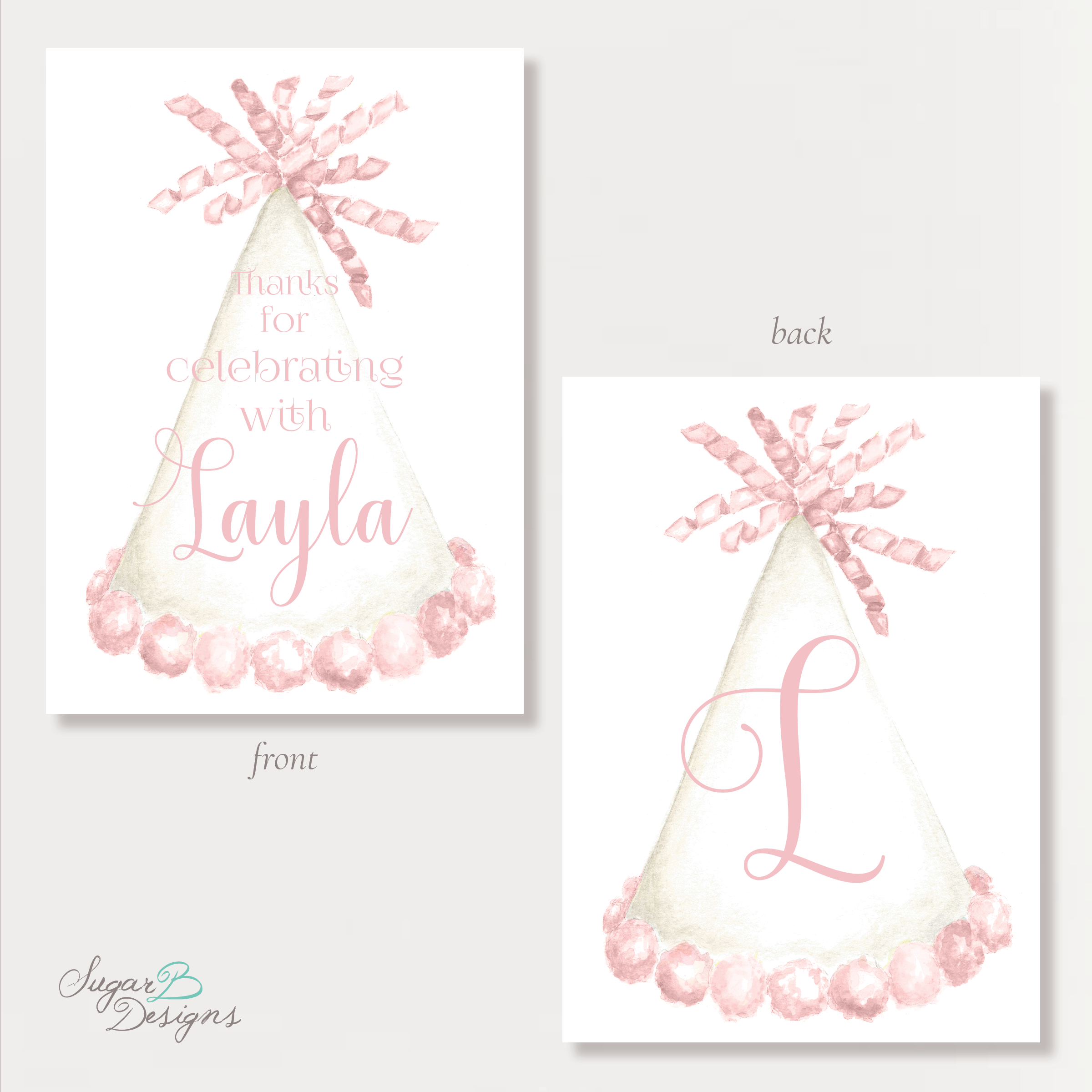 Party Hat Light Pink Gift Tags by Sugar B Designs