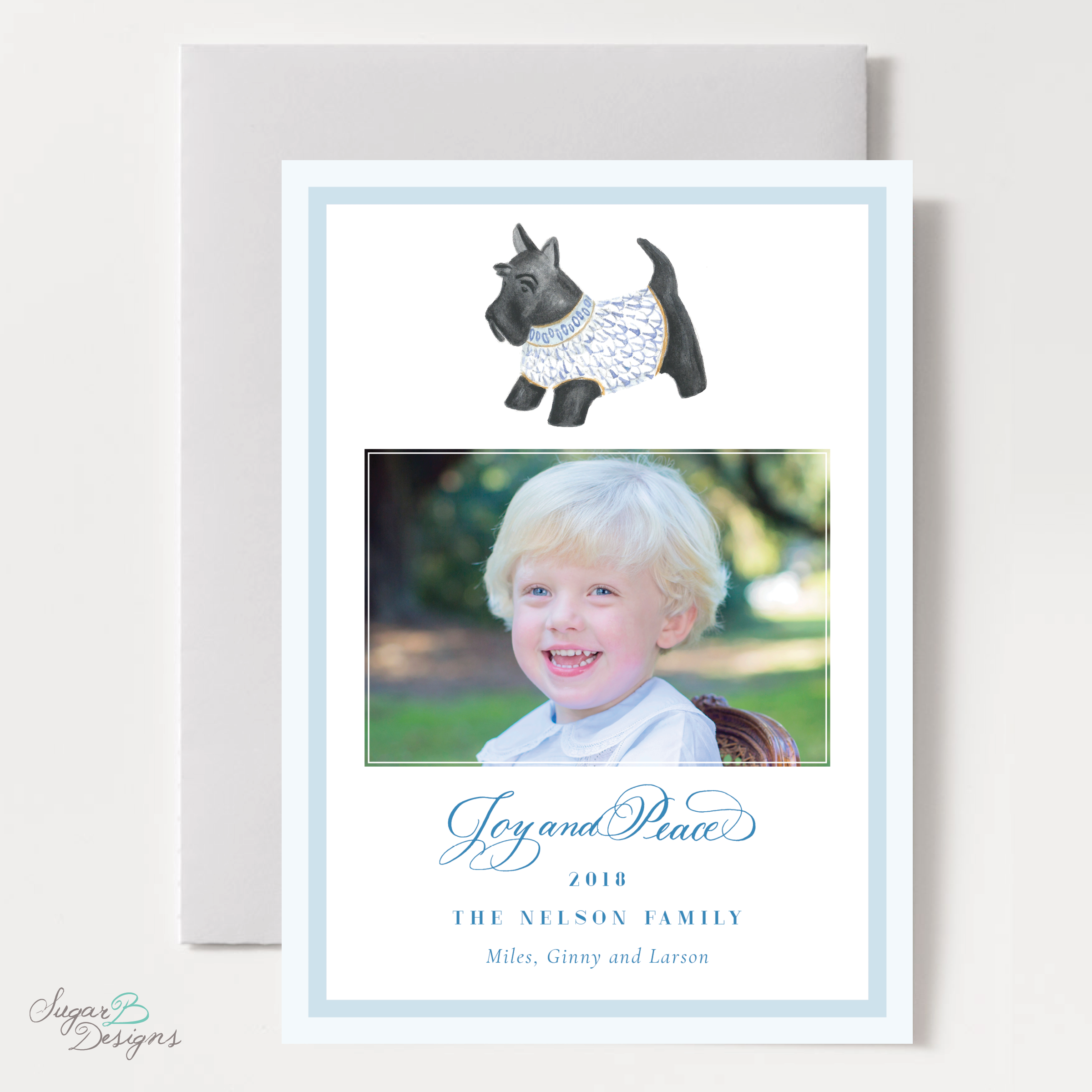 Herend Inspired Scottie Dog Moving Christmas Card front by Sugar B Designs.png