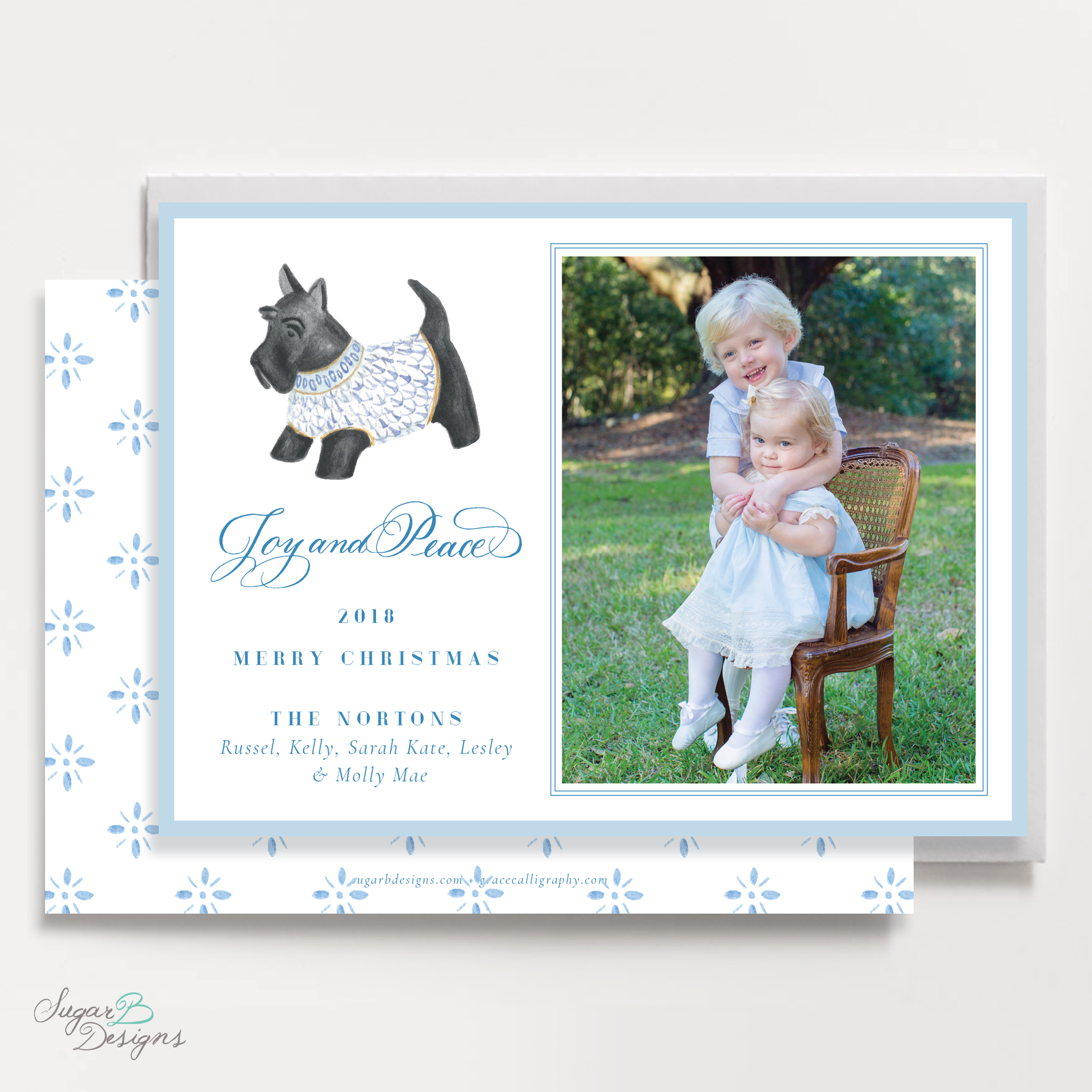 Herend Inspired Scottie Dog Landscape front + back Christmas Card by Sugar B Designs.png