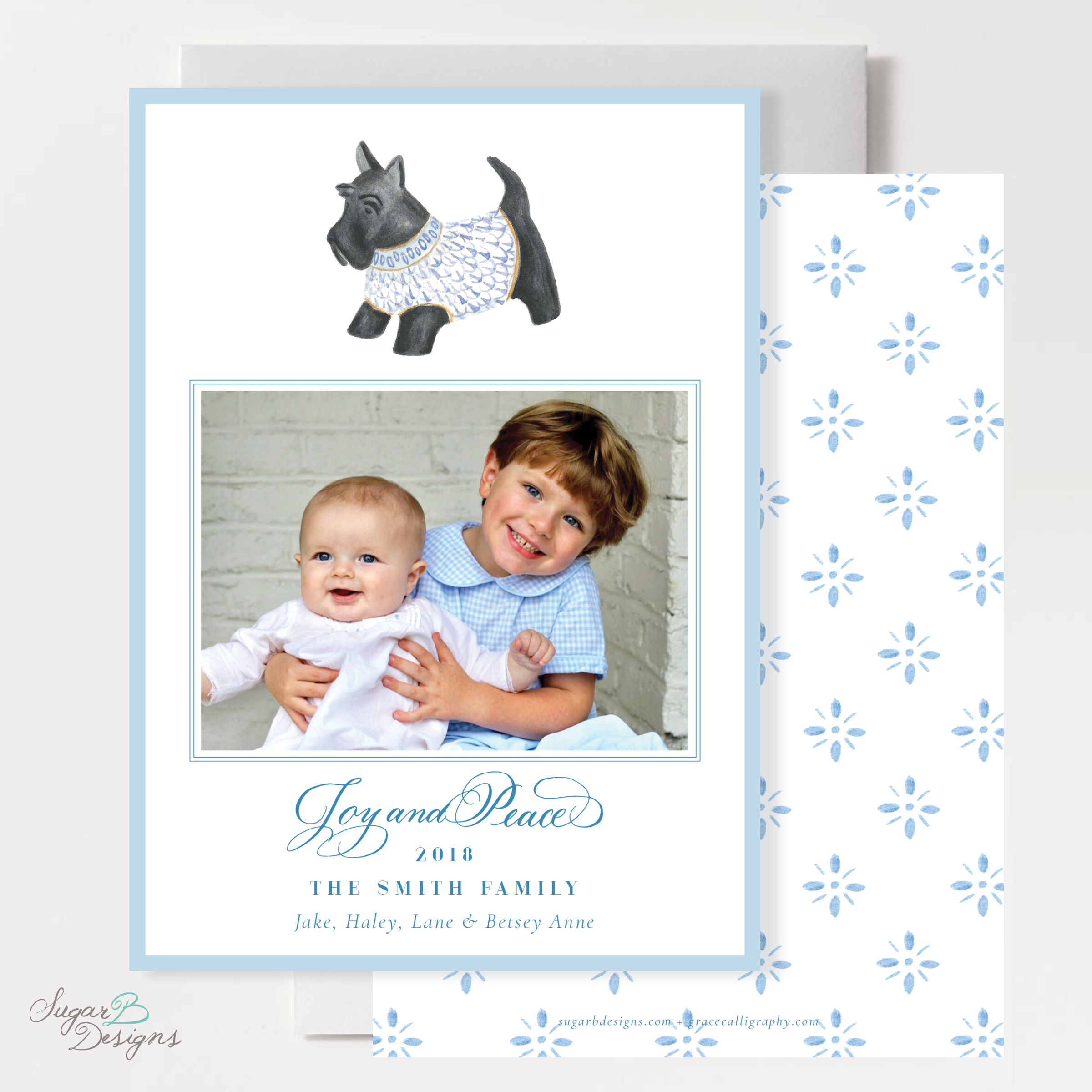 Herend Inspired Scottie Dog Vertical Christmas Card front + back by Sugar B Designs.png
