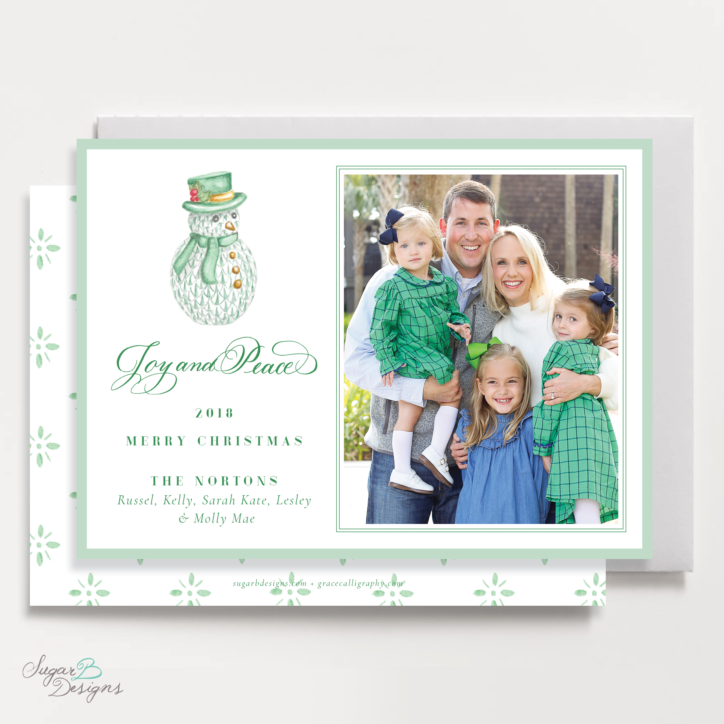 Herend Inspired Green Snowman Landscape Christmas Card front and back by Sugar B Designs.png