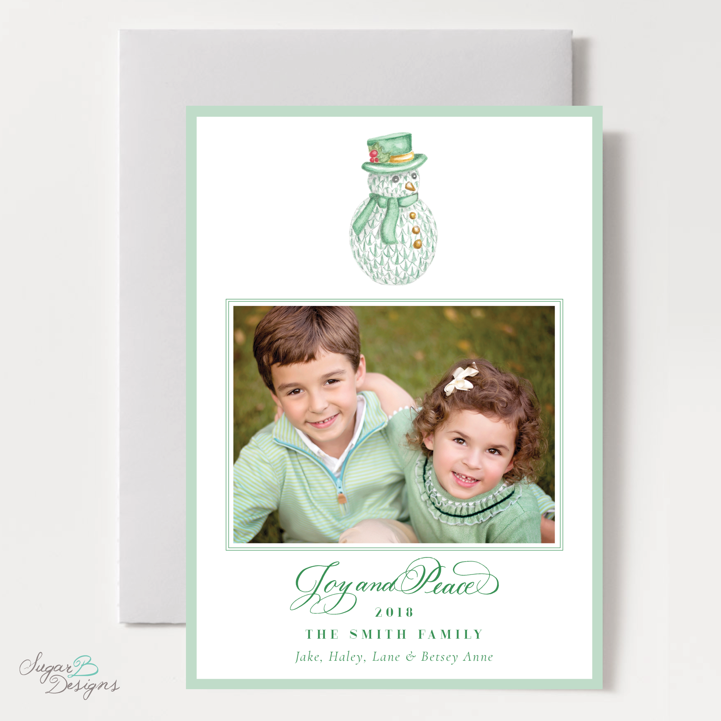 Herend Inspired Snowman Christmas Card by Sugar B Designs.png