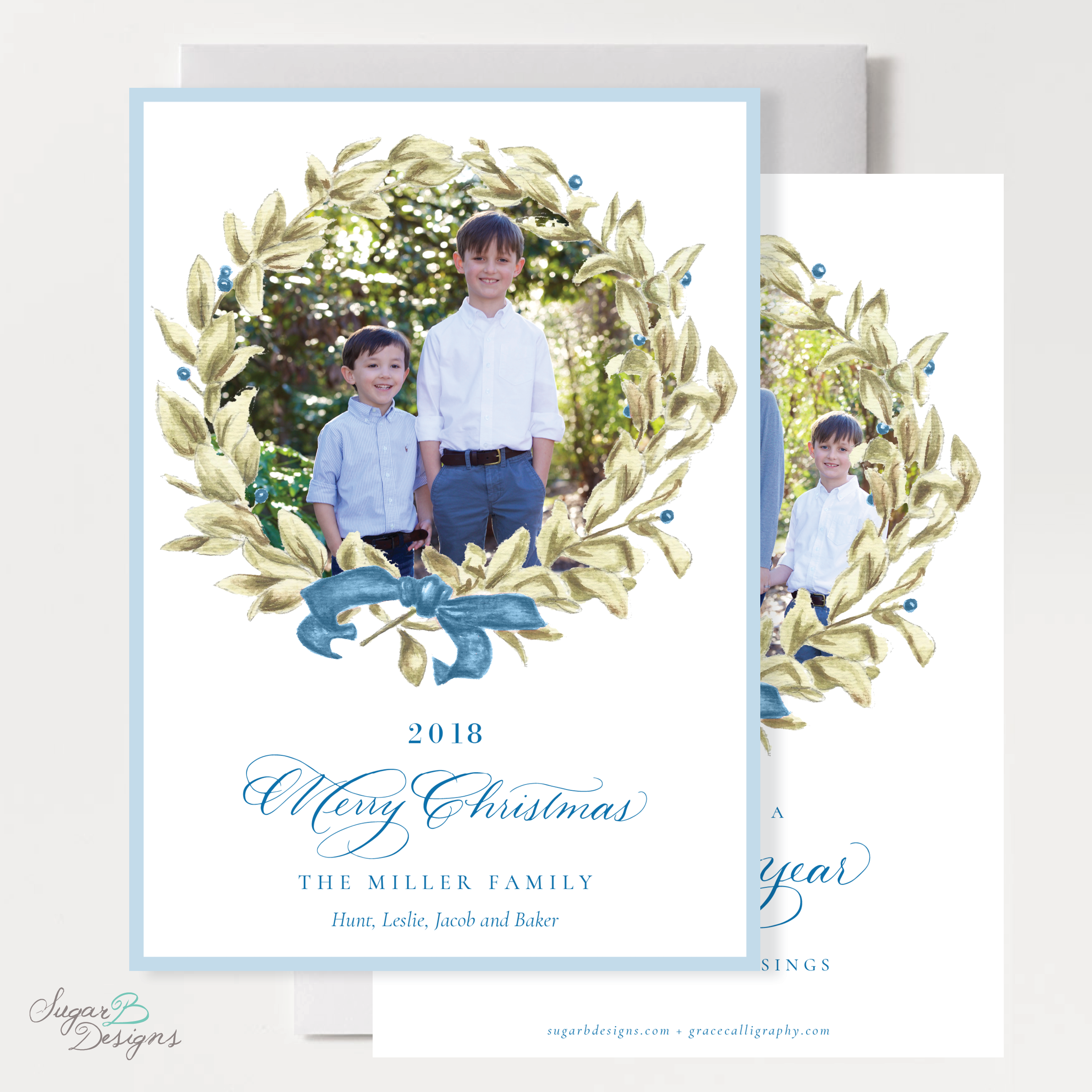 Meryl Wreath Blue Vertical Christmas Card front + back by Sugar B Designs.png