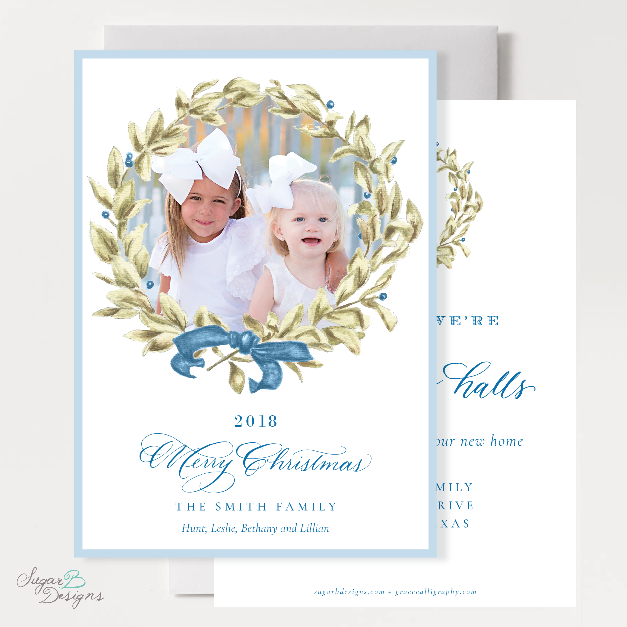 Meryl Wreath Blue Change of Address Christmas Card front + back by Sugar B Designs.png
