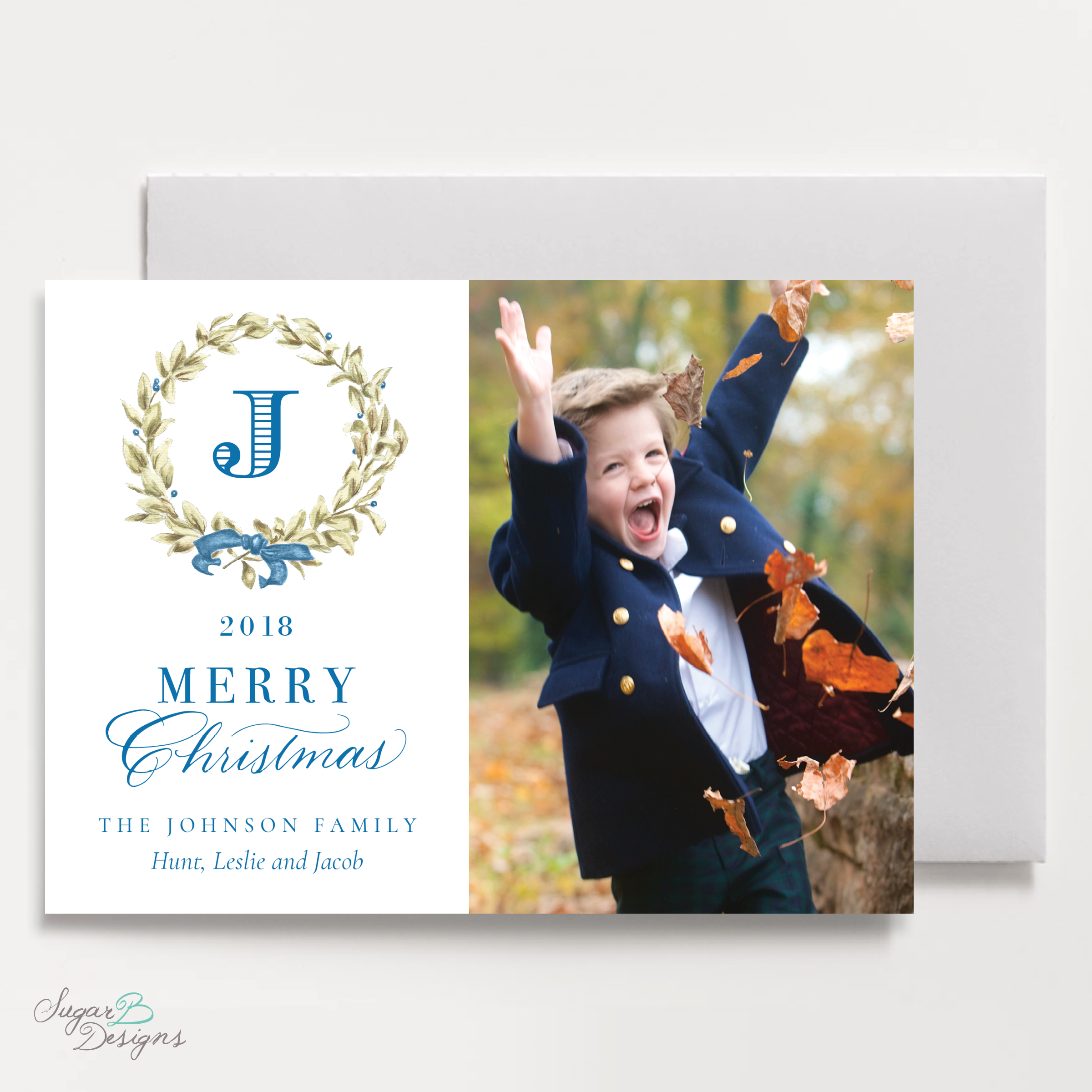 Meryl Wreath Blue Landscape front Christmas Card by Sugar B Designs.png