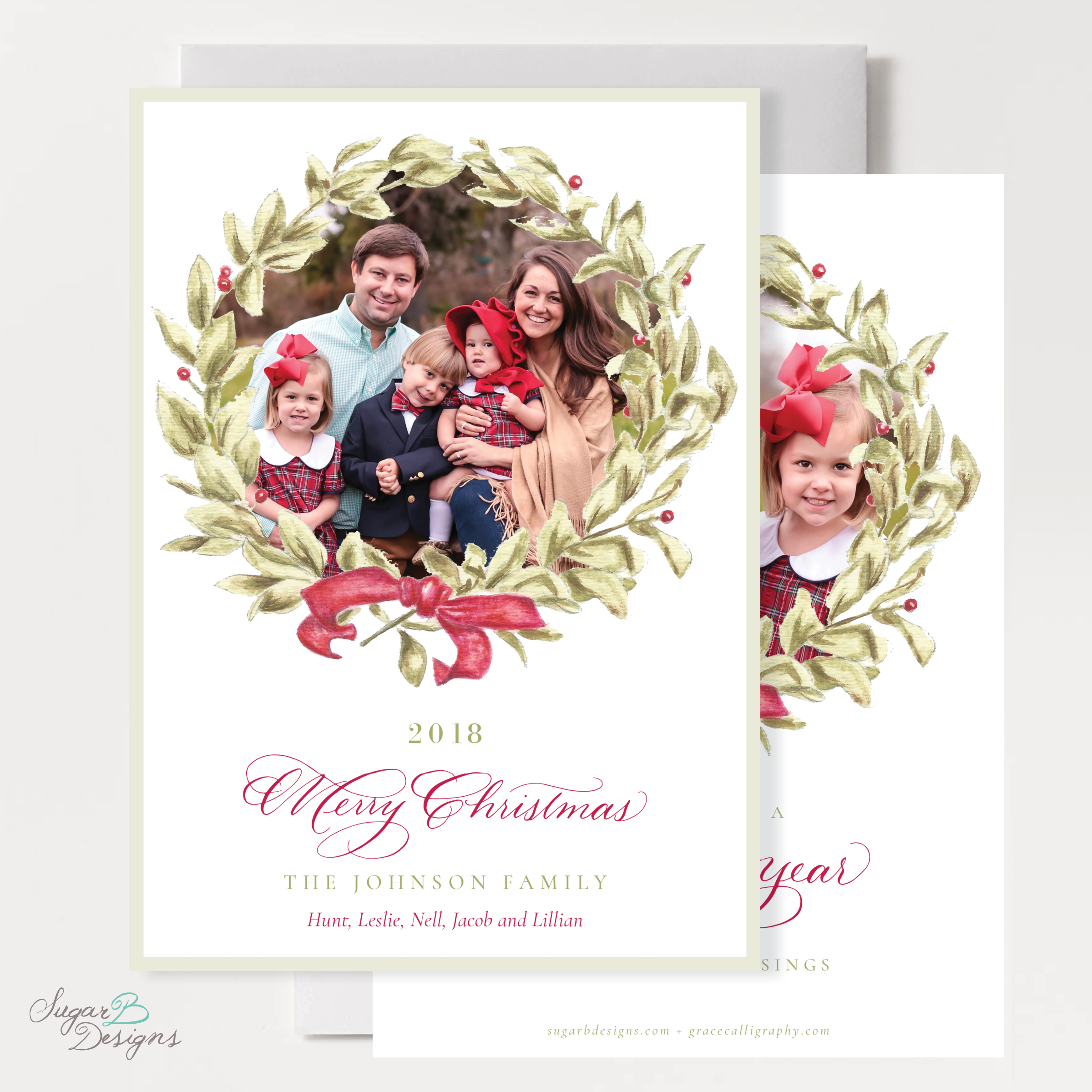 Meryl Wreath Red Christmas Card front + back by Sugar B Designs.png