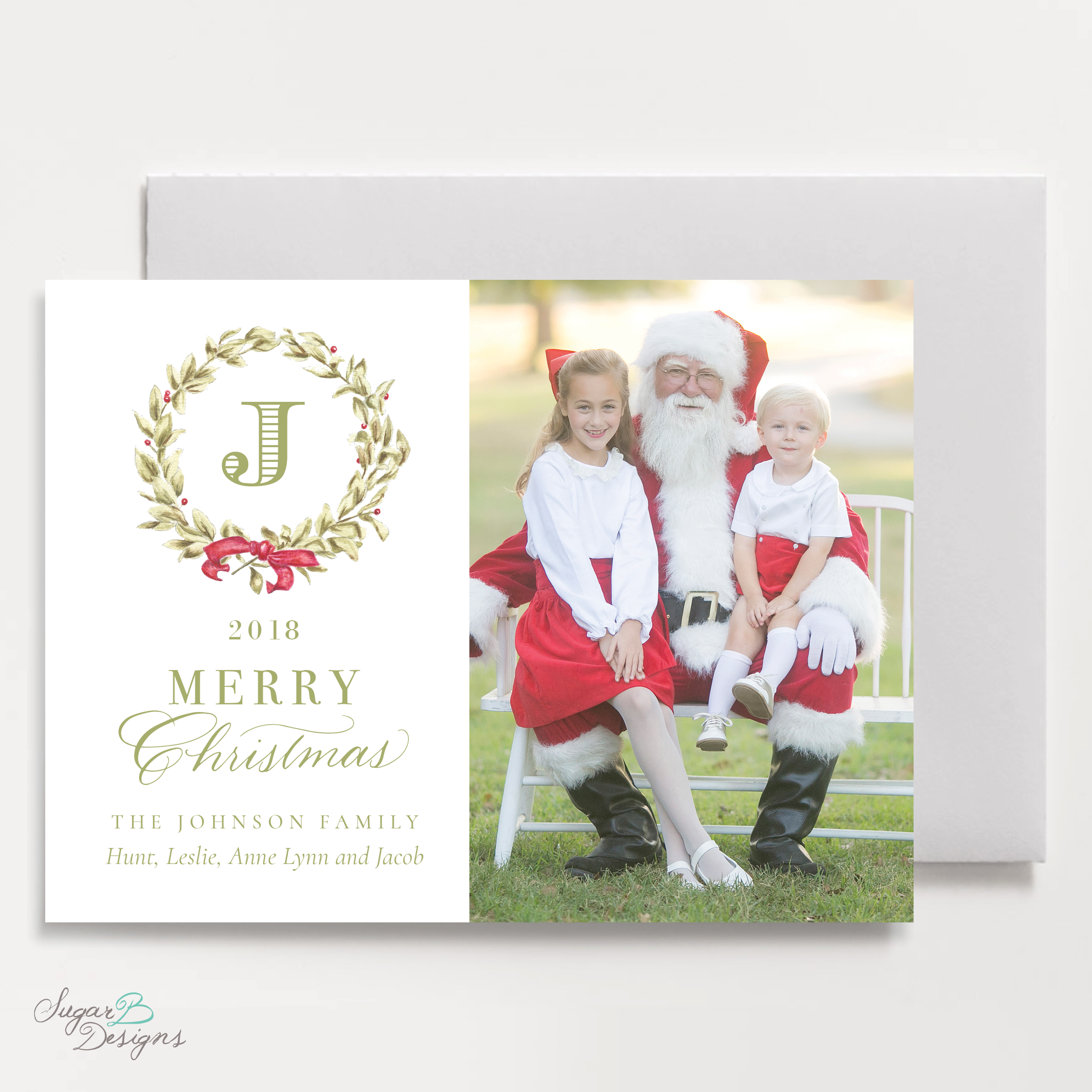 Meryl Wreath Red Christmas Card LANDSCAPE front by Sugar B Designs.png