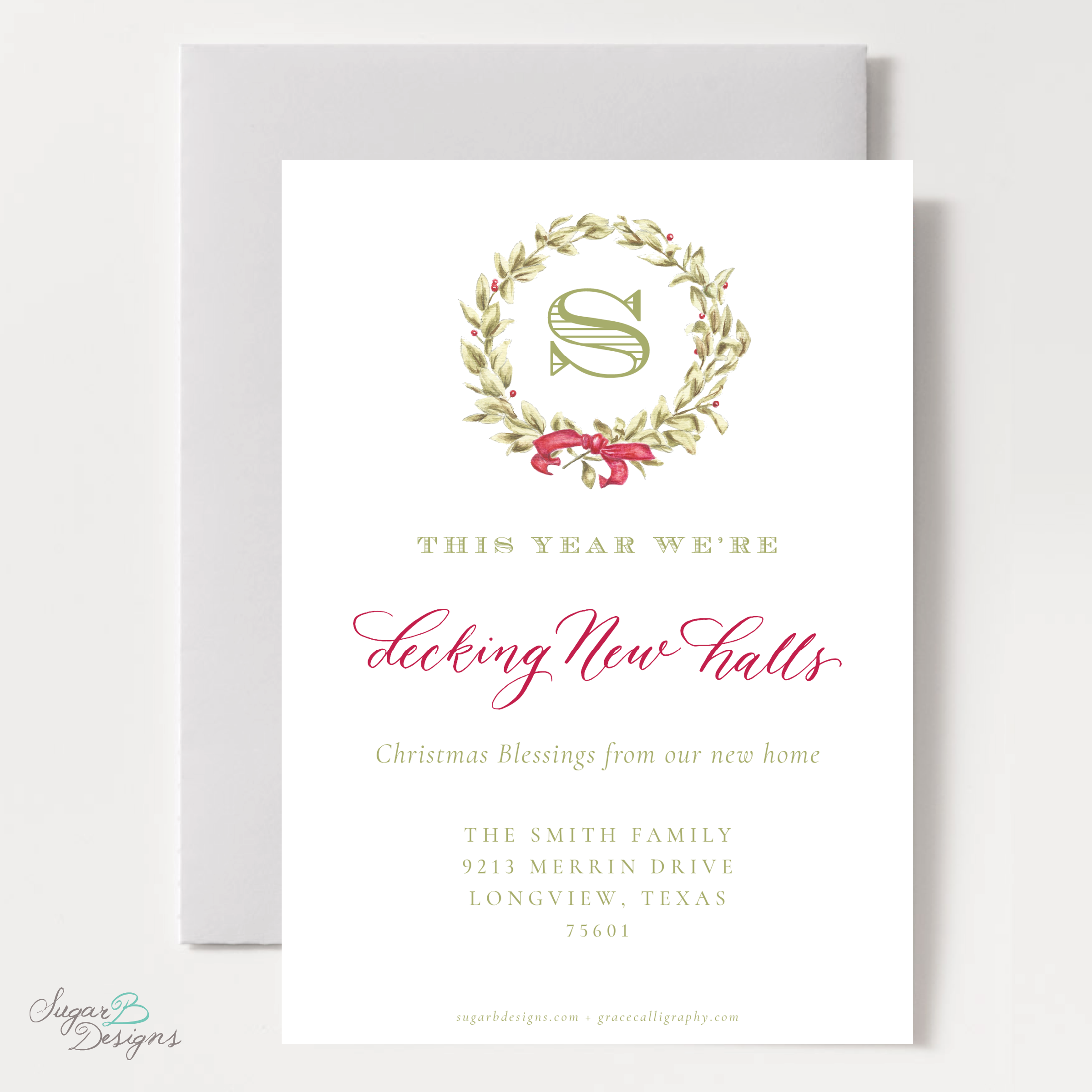 Meryl Wreath Red Moving Christmas Card back by Sugar B Designs.png