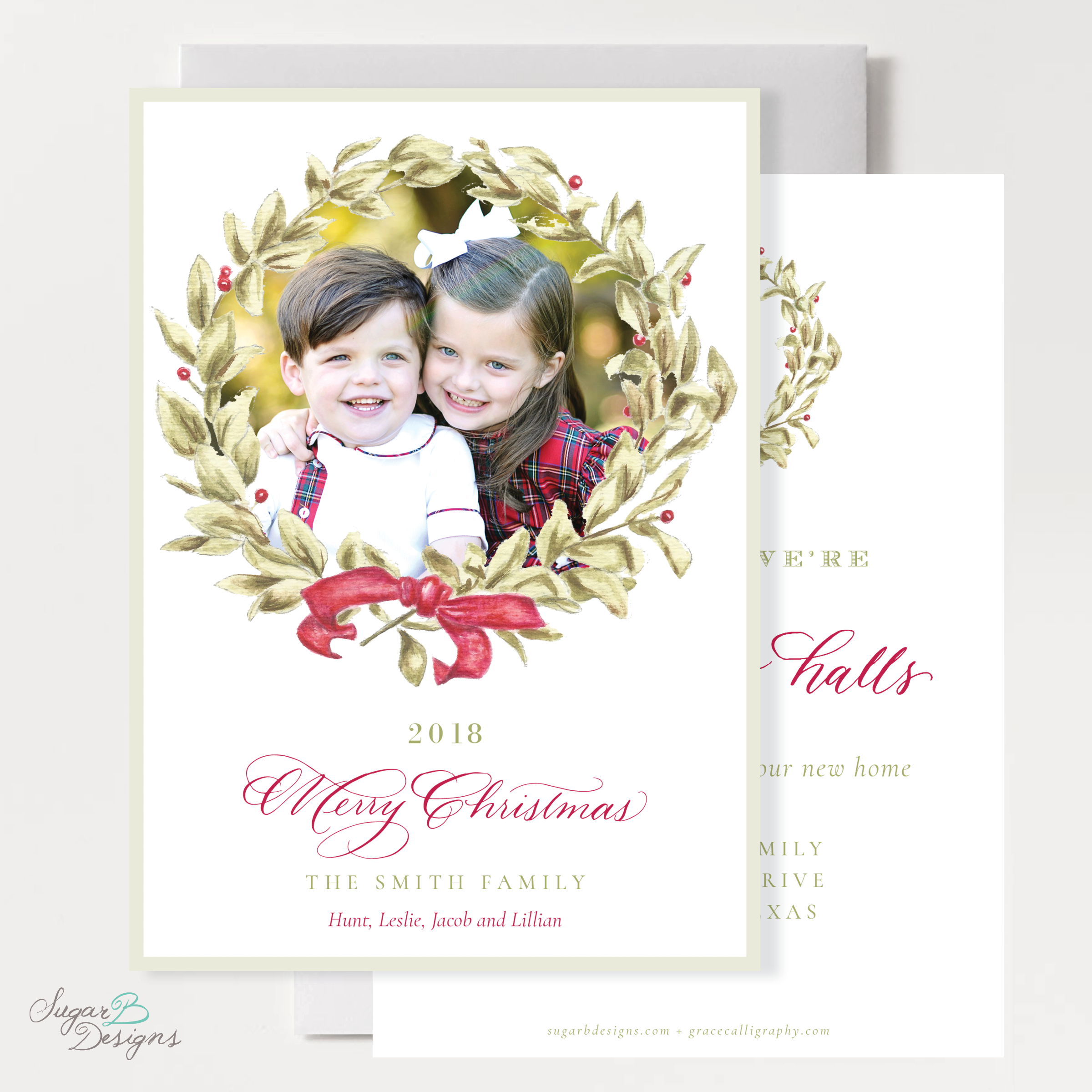 Meryl Wreath Red Moving Christmas Card front + back by Sugar B Designs.png