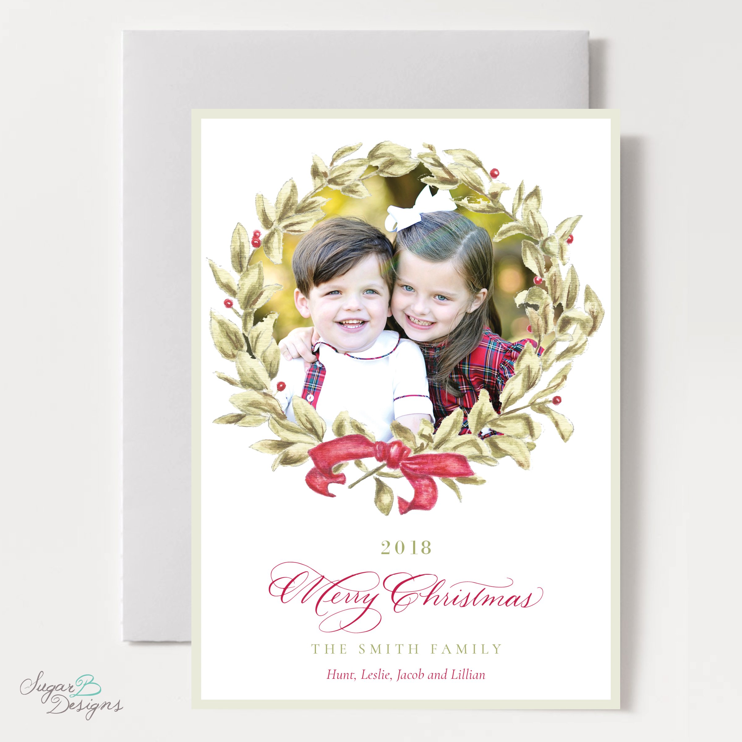 Meryl Wreath Red Moving Christmas Card front by Sugar B Designs.png