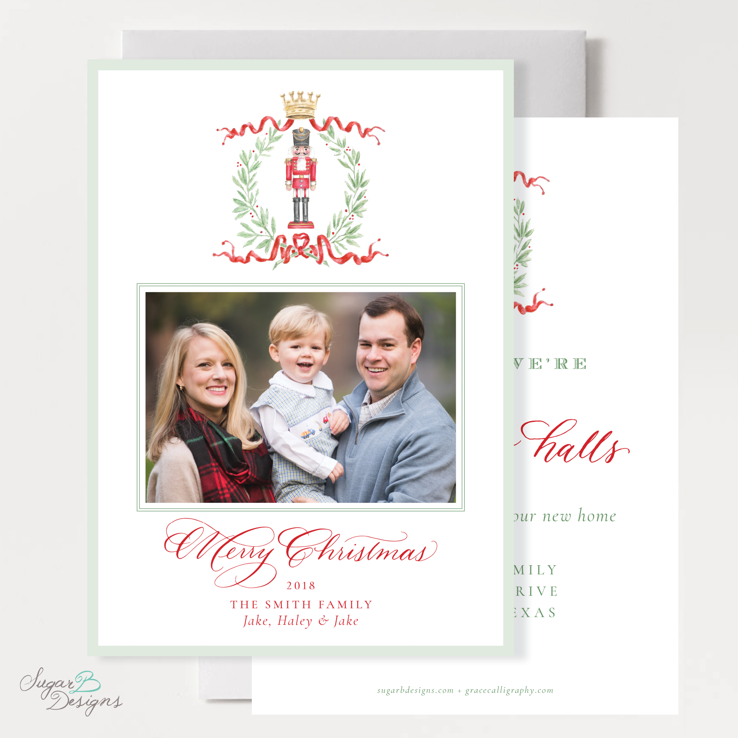 Nutcracker Royal Wreath Change of Address front + back Christmas Card by Sugar B Designs.png