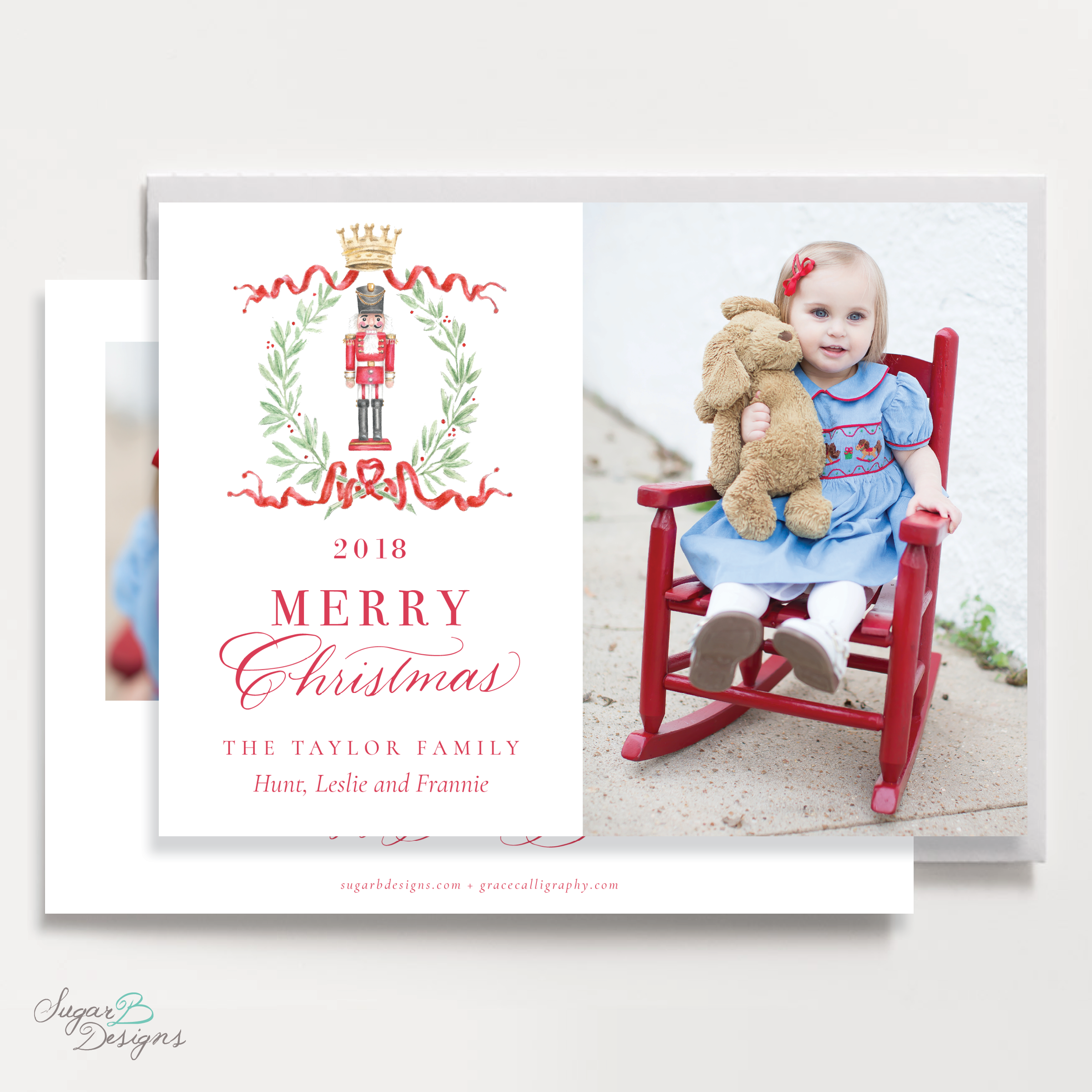 Nutcracker Royal Wreath Landscape front + back Christmas Card by Sugar B Designs.png