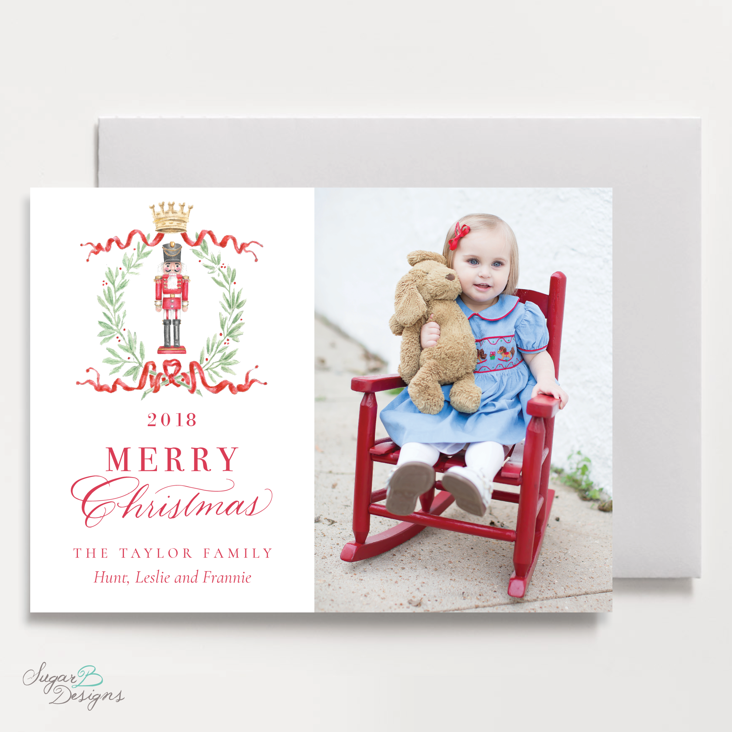 Nutcracker Royal Wreath Landscape front Christmas Card by Sugar B Designs.png