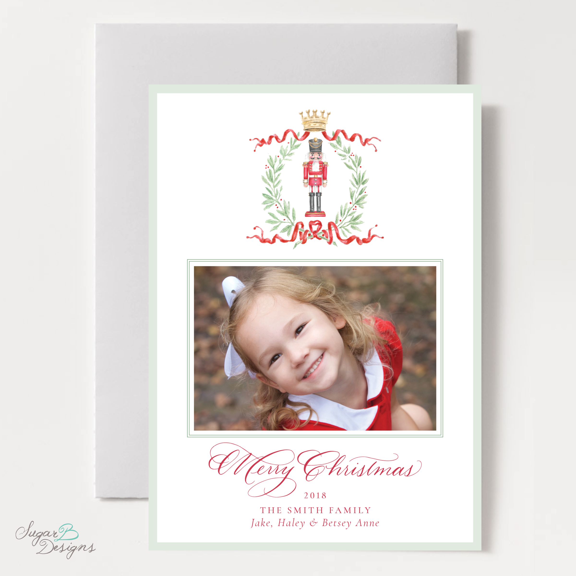Nutcracker Royal Wreath Christmas Card front by Sugar B Designs.png