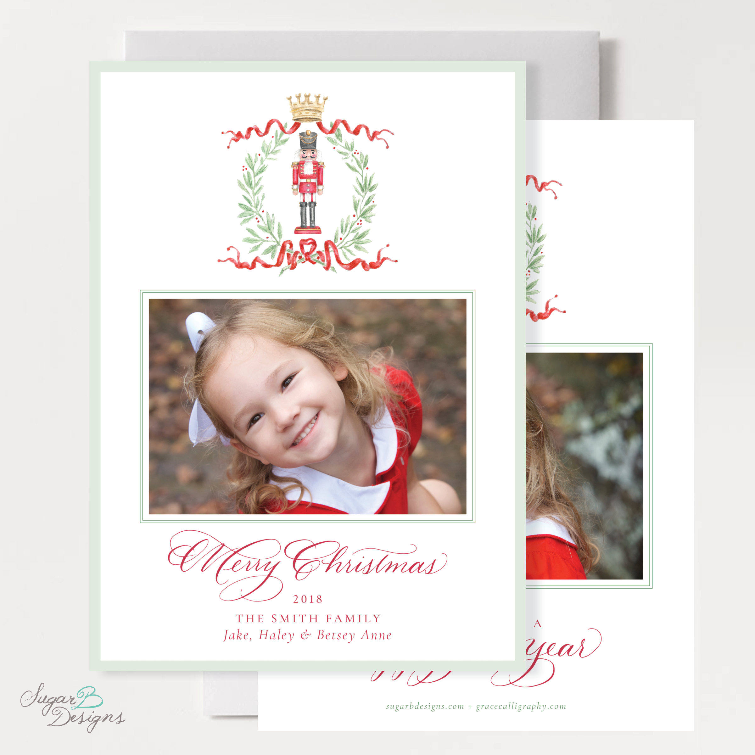 Nutcracker Royal Wreath front + back Christmas Card by Sugar B Designs.png