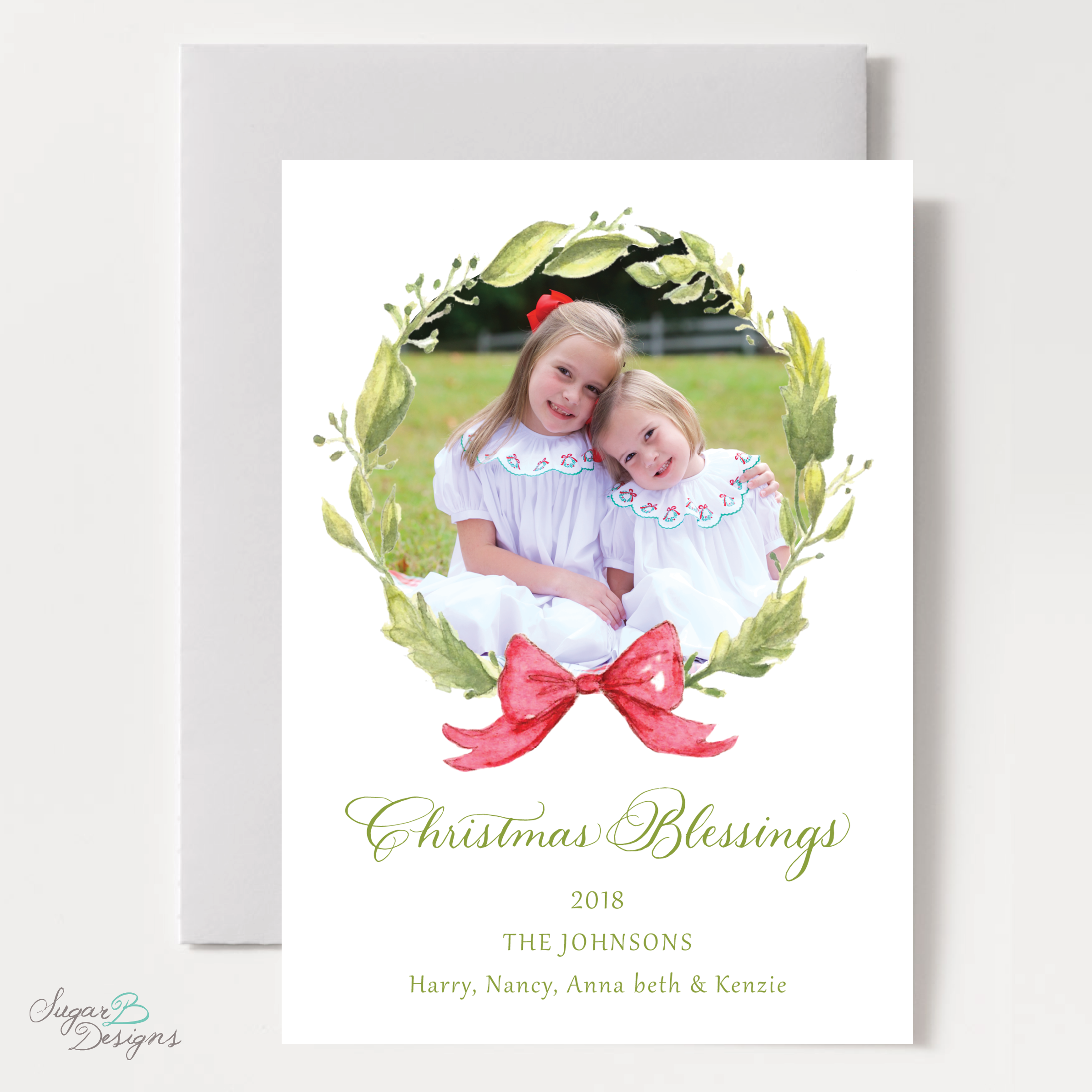 Petite Wreath Red Family Christmas Card by Sugar B Designs.png