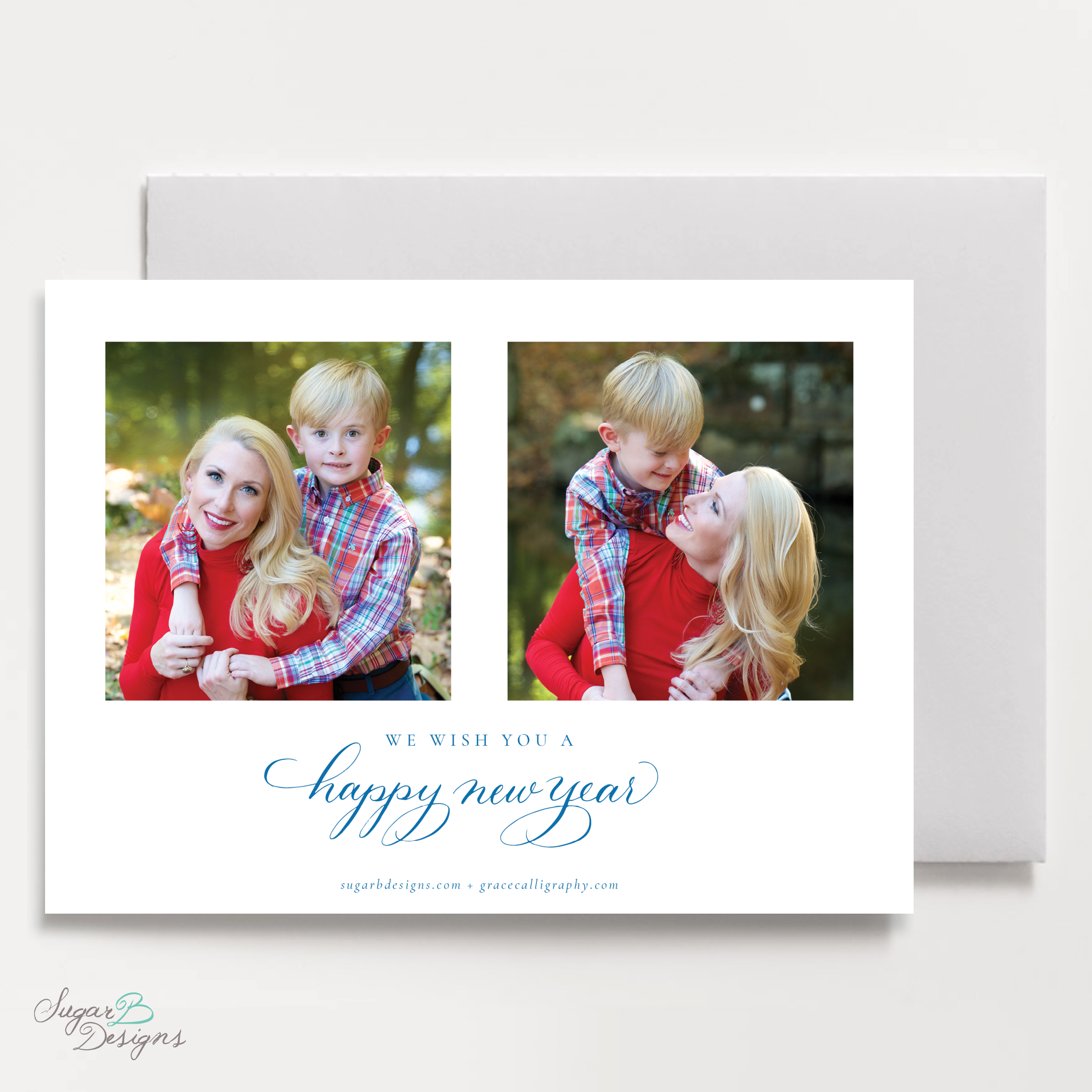 Royal Wreath Blue Landscape back Christmas Card by Sugar B Designs.png
