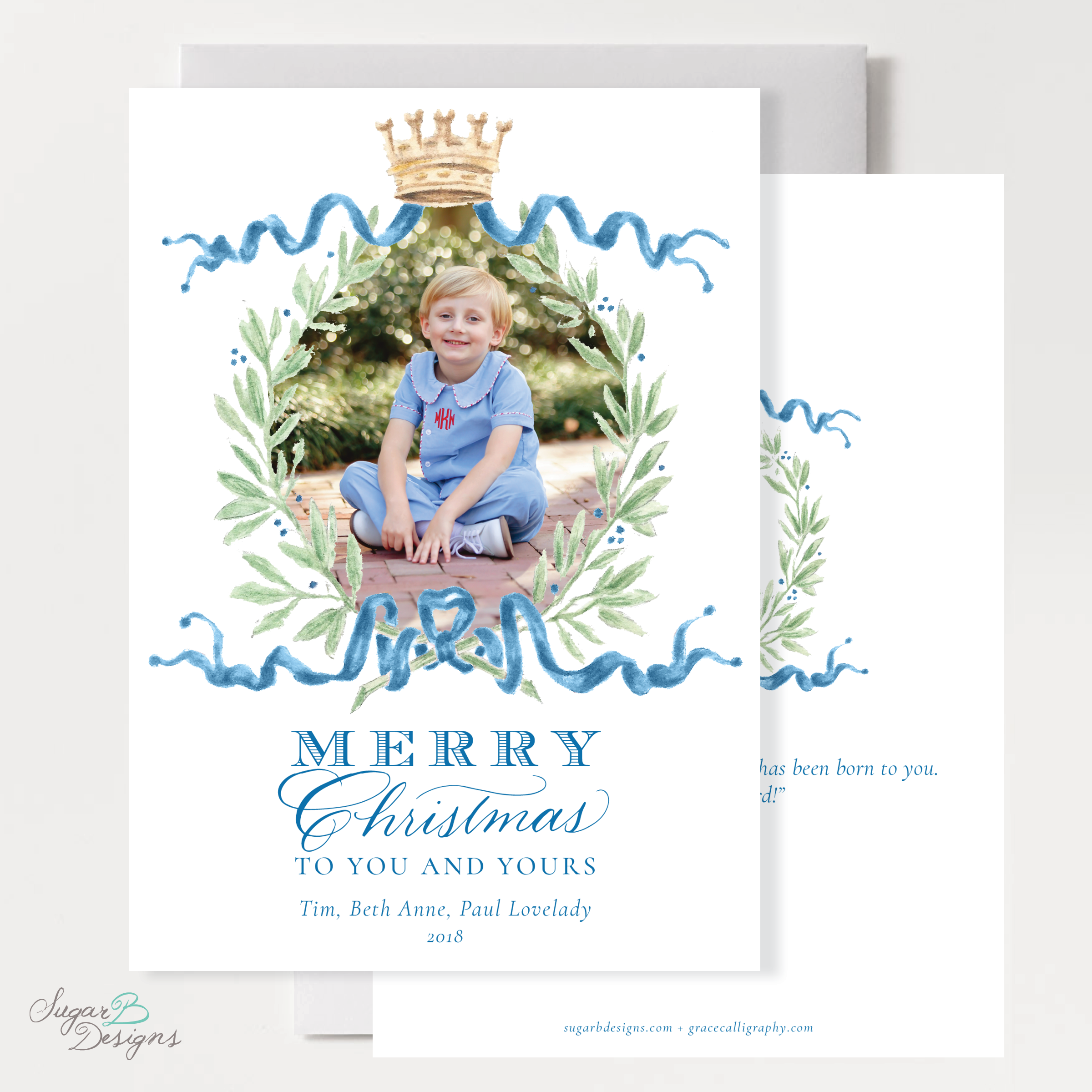 Royal Wreath Blue Christmas Card front + back by Sugar B Designs.png