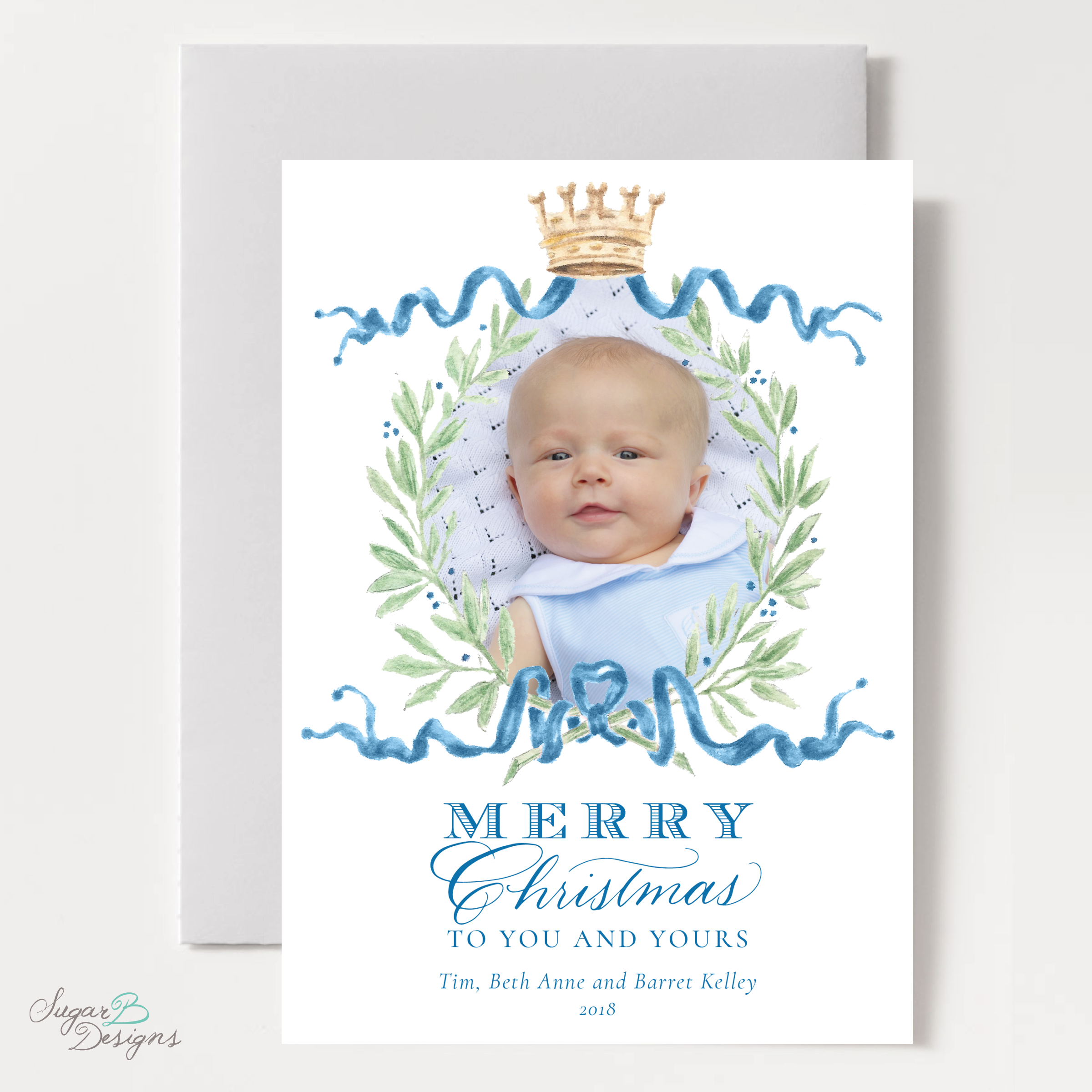 Royal Wreath Blue Change of Address Christmas Card front by Sugar B Designs.png