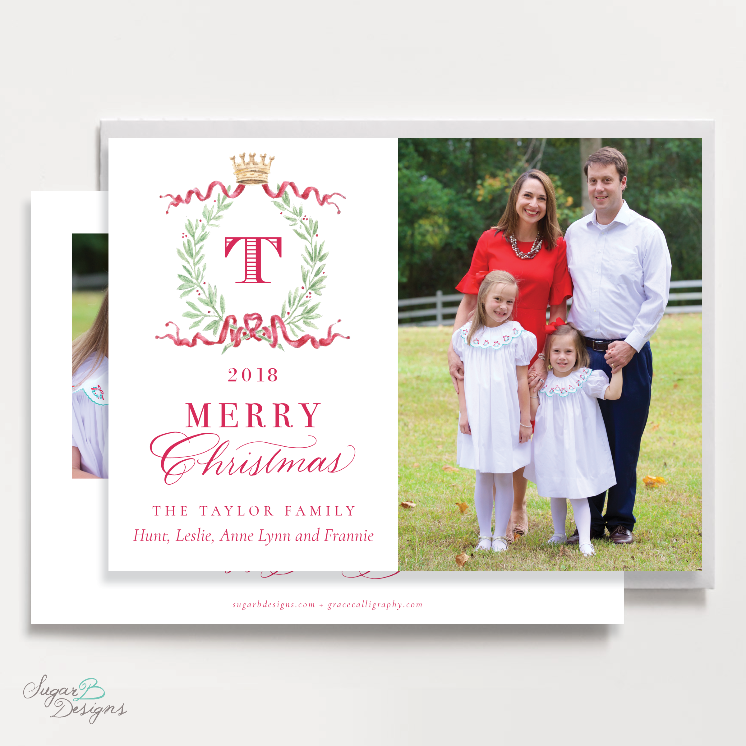 Royal Wreath Red Landscape front + back Christmas Card by Sugar B Designs.png