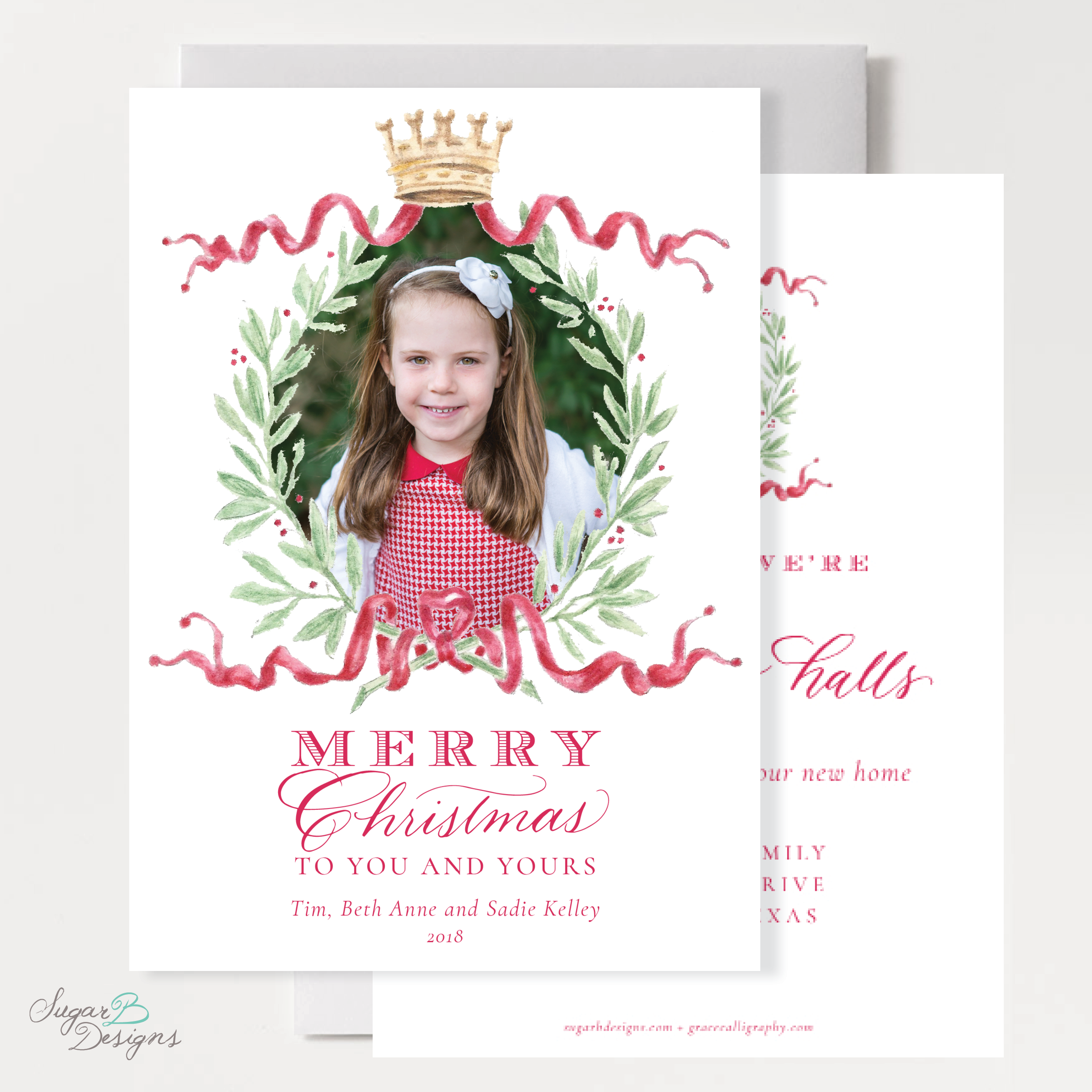 Royal Wreath Red Change of Address Christmas Card front + back by Sugar B Designs.png