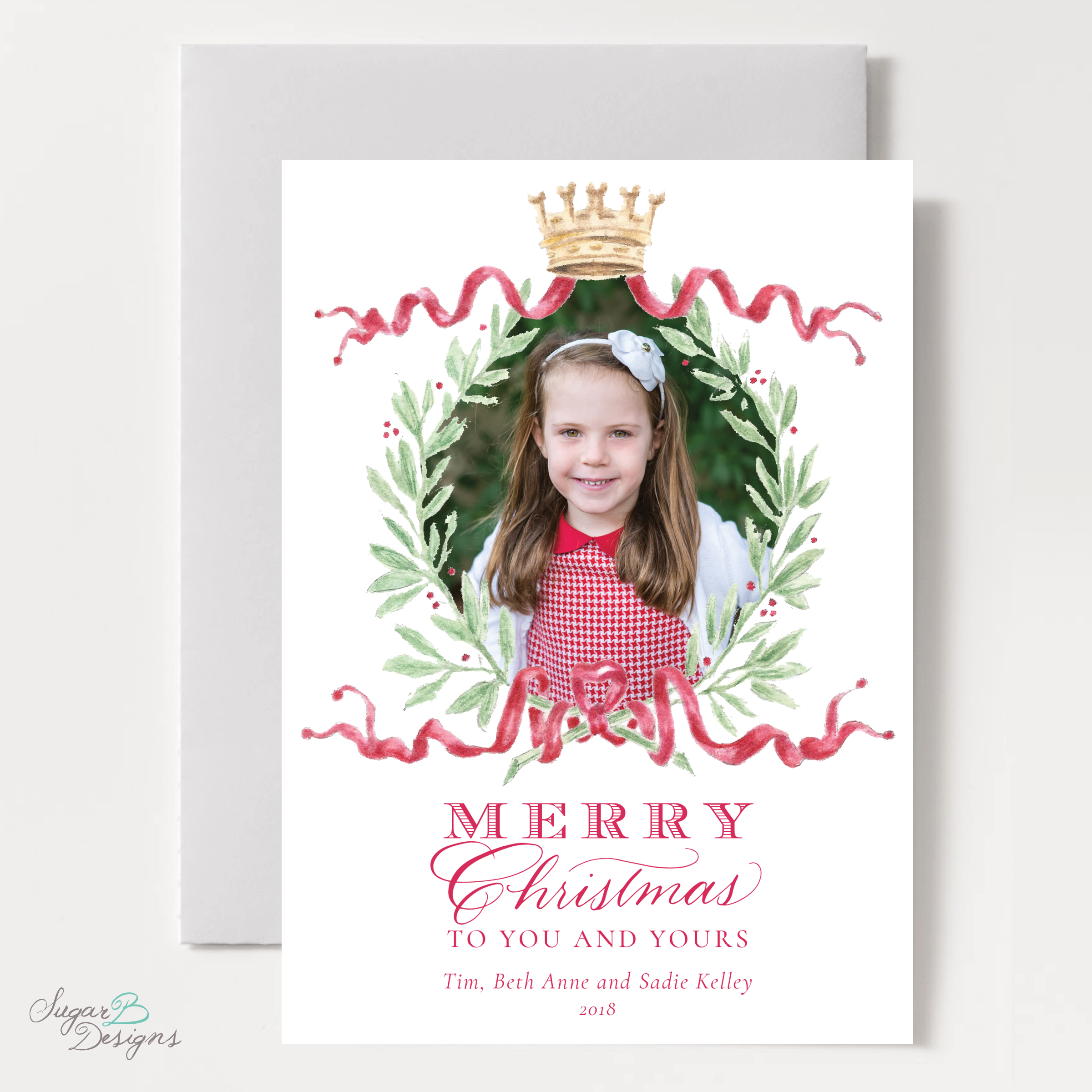 Royal Wreath Red Change of Address Christmas Card front by Sugar B Designs.png