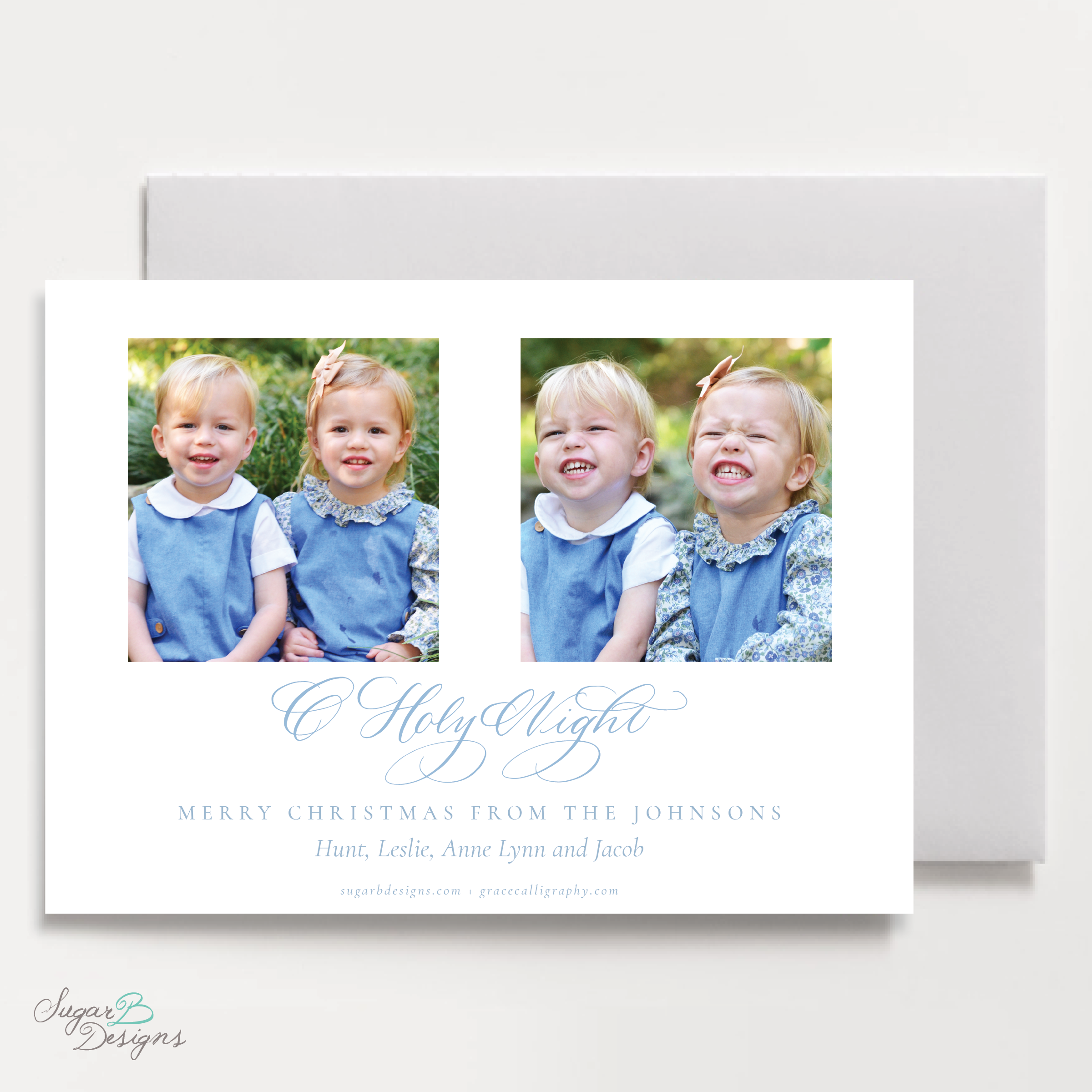 The Newborn King LANDSCAPE Christmas Card back by Sugar B Designs.png