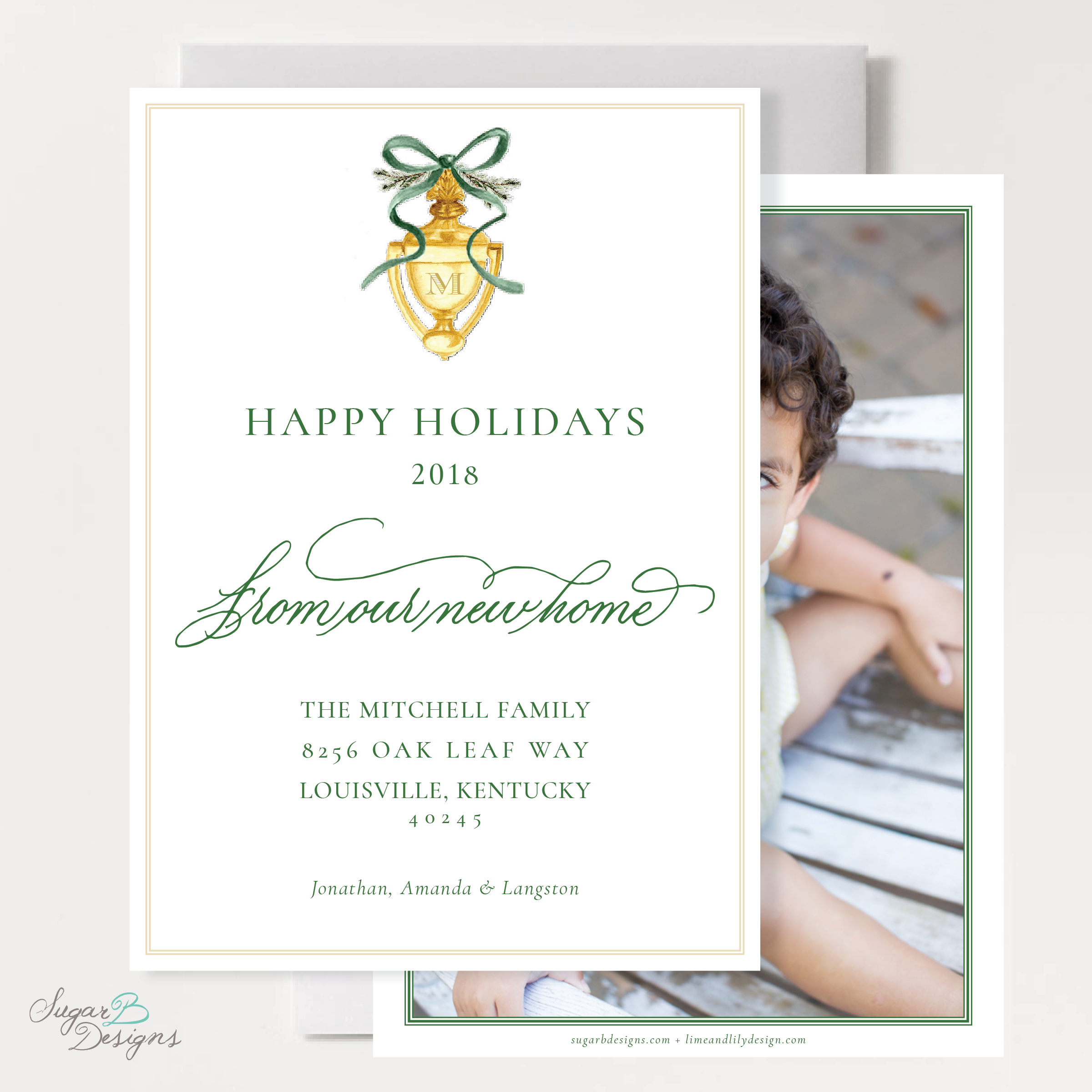 Door Knocker Green Change of Address Christmas Card front + back by Sugar B Designs.png