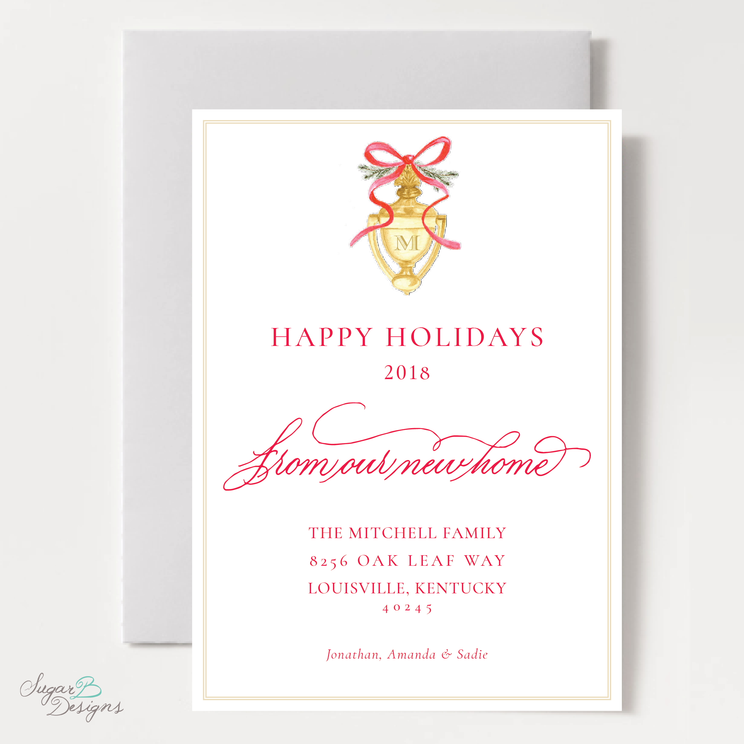 Door Knocker Red Change of Address Christmas Card front by Sugar B Designs.png