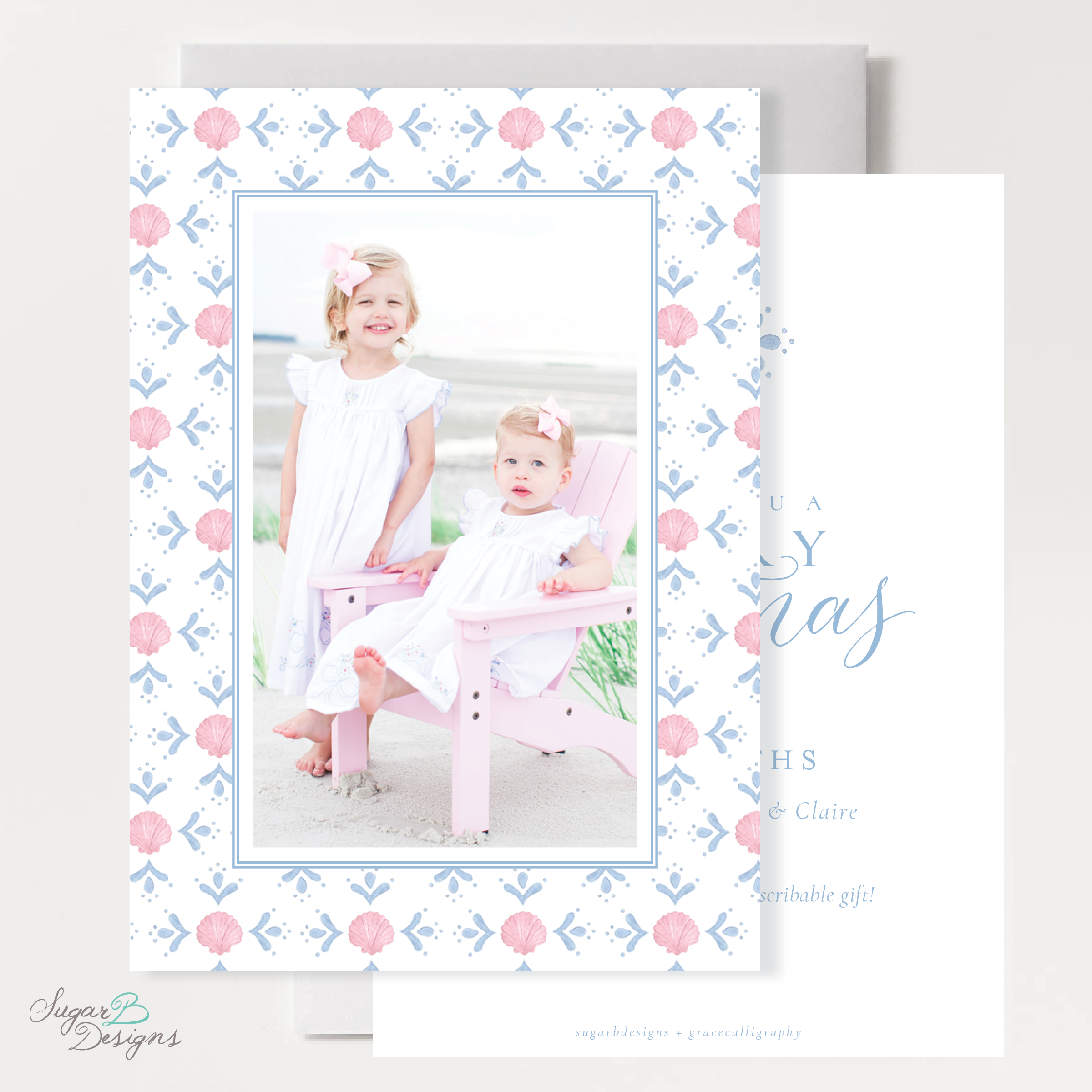Shell Celebration Pink Christmas Card front + back by Sugar B Designs.png