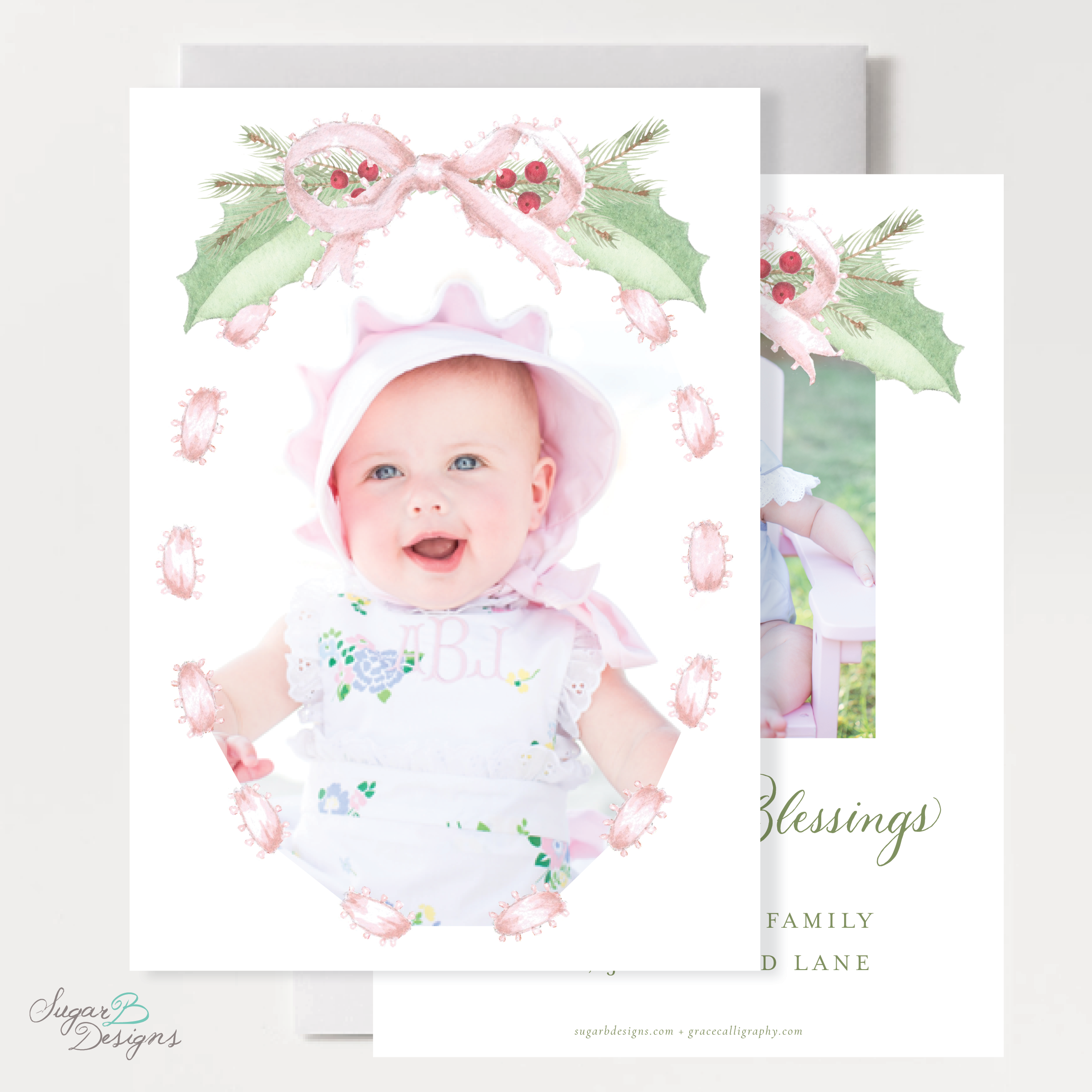 Collins Pink Christmas Card front + back by Sugar B Designs.png