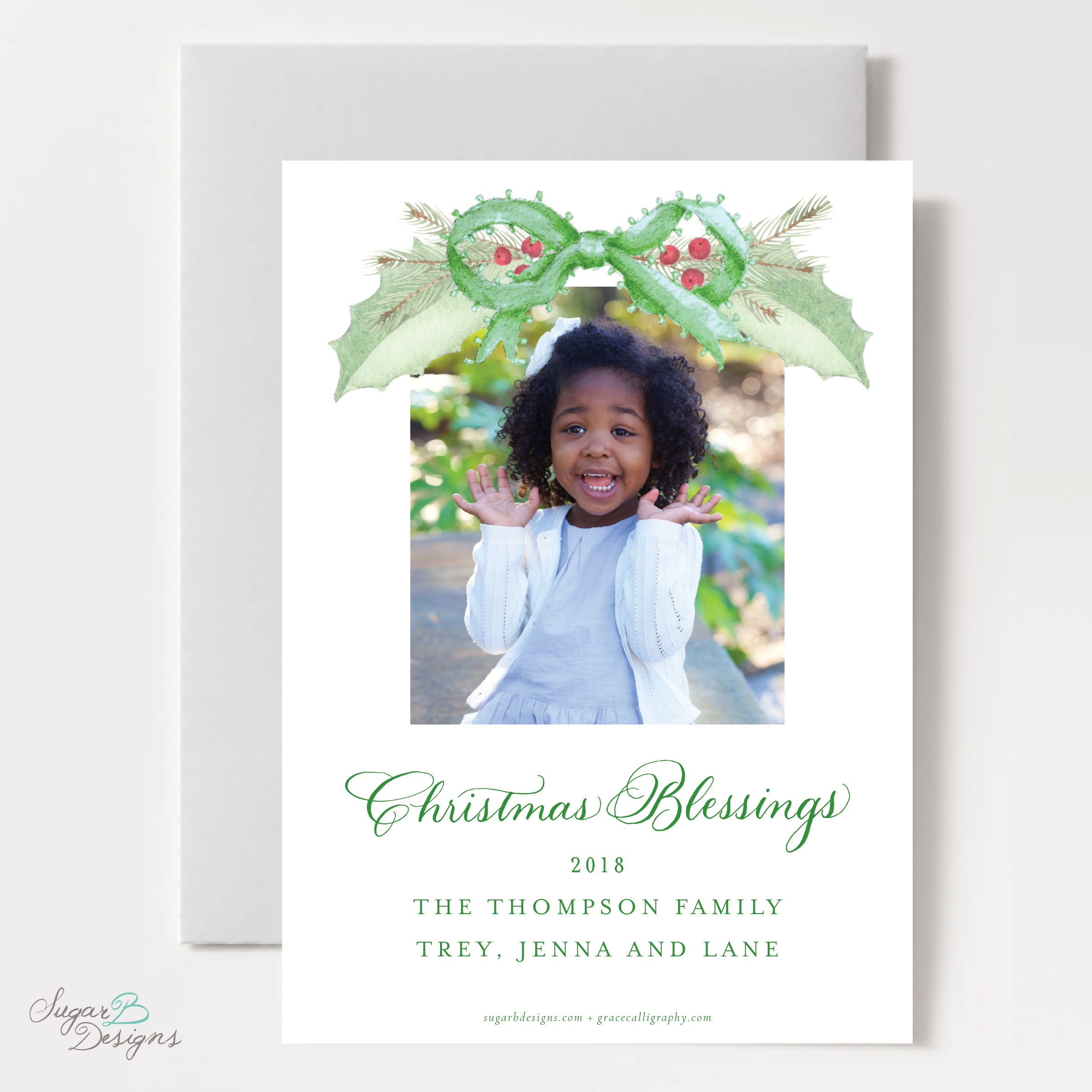 Collins Green Christmas Card back by Sugar B Designs.png