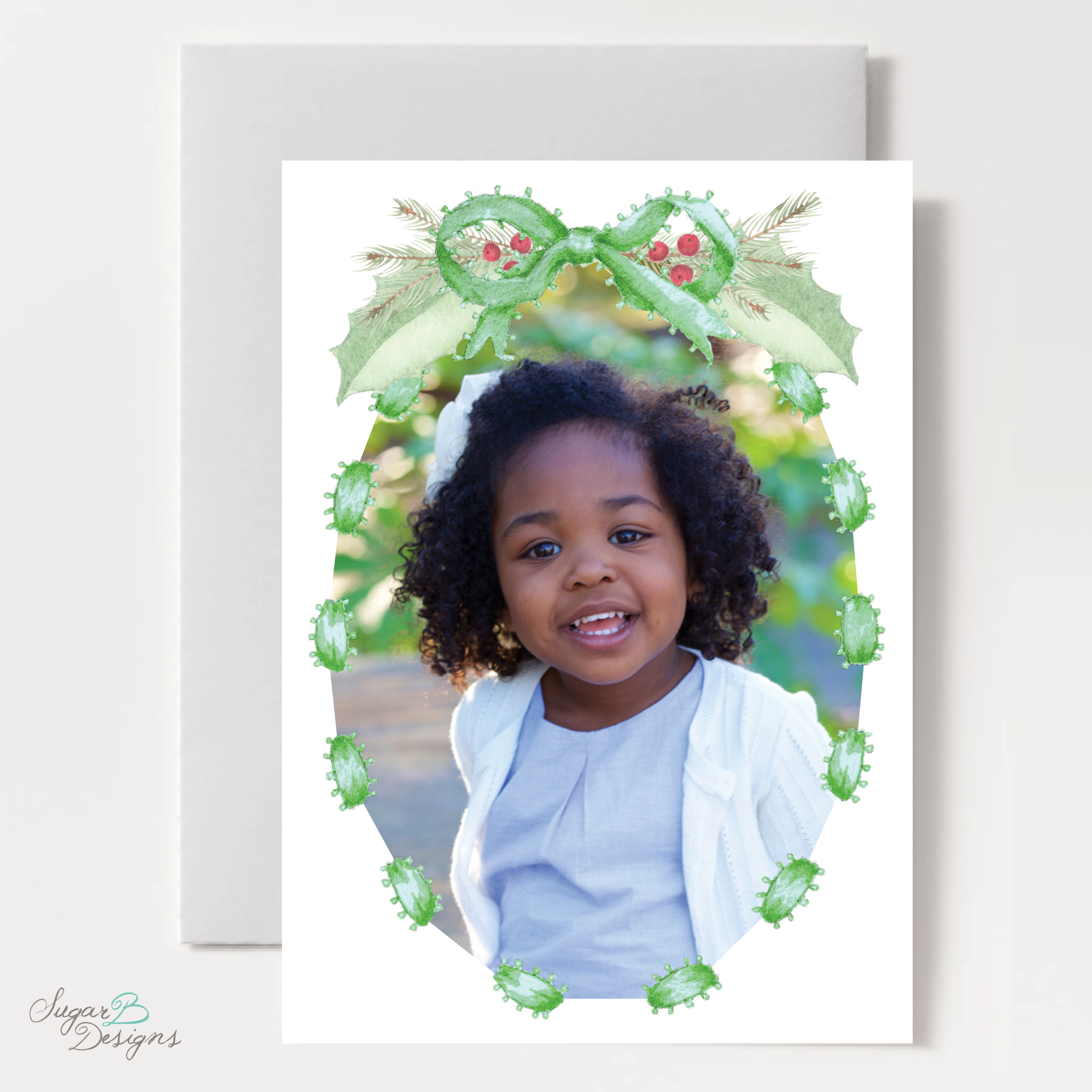 Collins Green Christmas Card front by Sugar B Designs.png