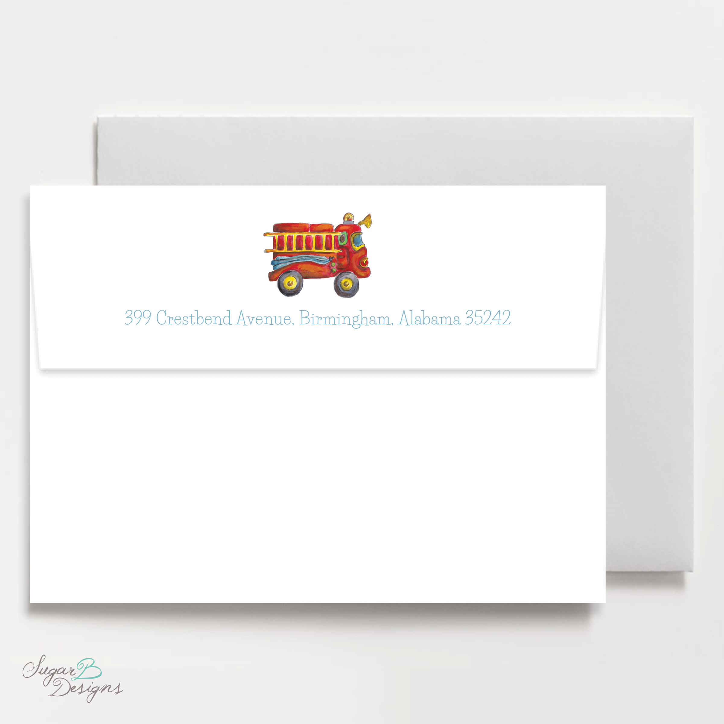 Firetruck Return Address Print