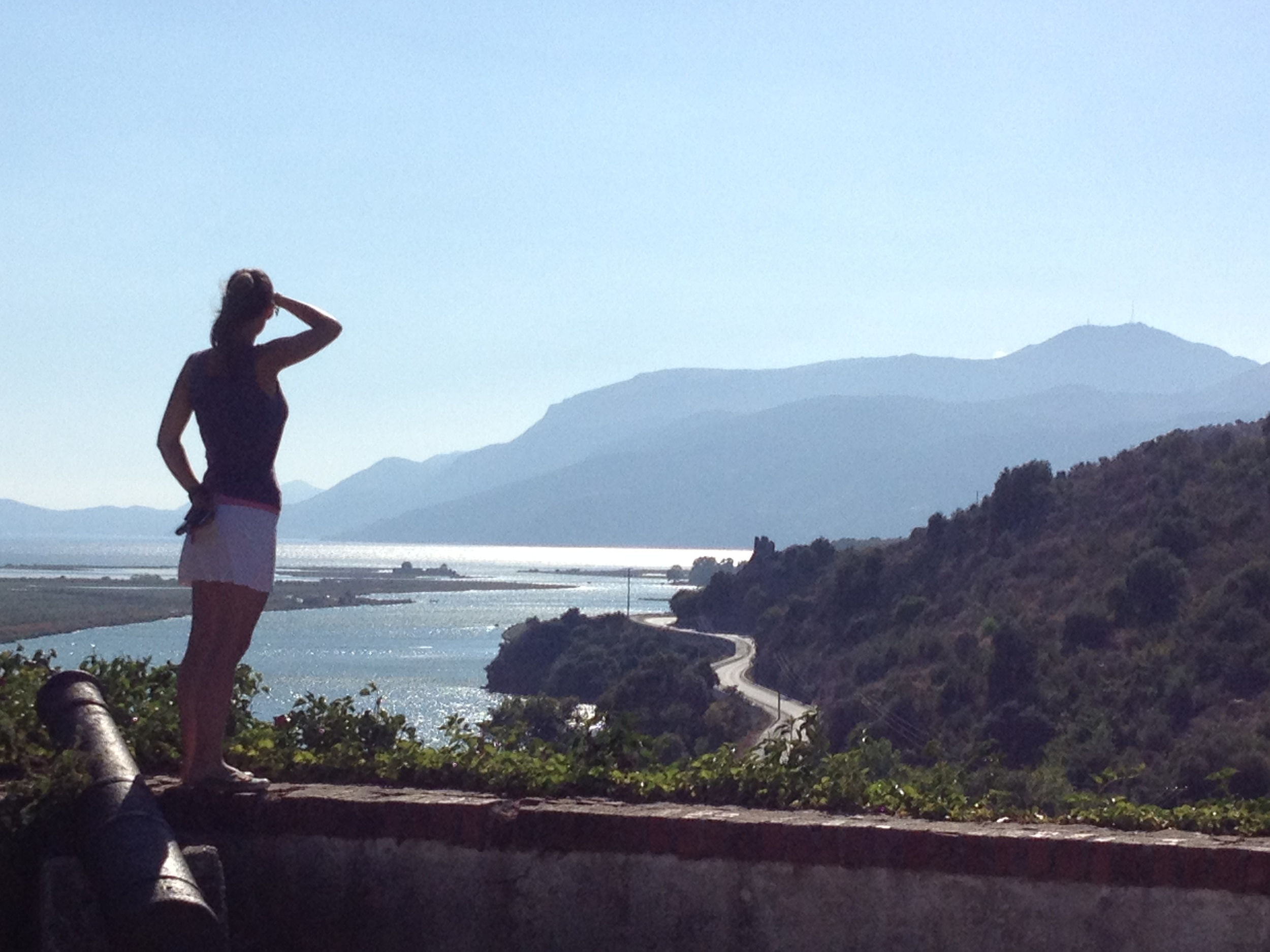 Scanning the horizon, seeking the Ionian Sea like thousands before us, Butrint, Albania