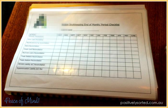 bookkeeping checklist organised finances