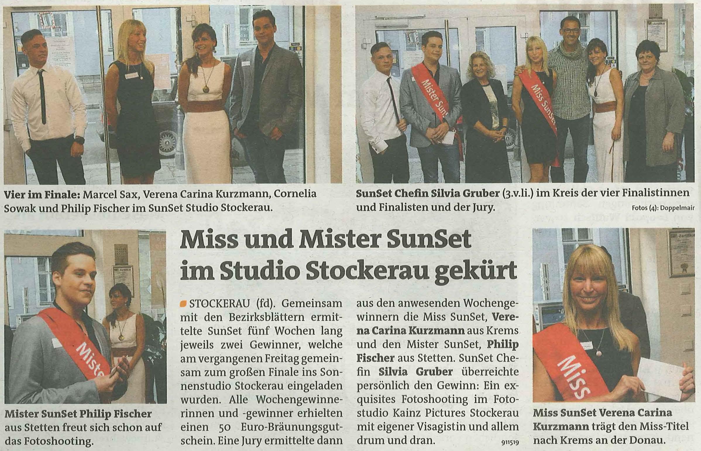 Die Bezirksblätter berichteten am 16.4.2014 vom Finale von Miss & Mister SunSet.