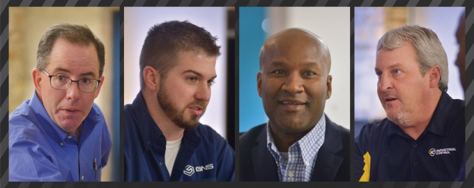 Joining MiBiz for a manufacturing roundtable were (left to right) Patrick Greene of Cascade Die Casting Group Inc., Josh Shaw of GNS America Co., Michael Davenport of Jireh Metal Products Inc. and Mark Ermatinger of Industrial Control Service Inc. Photos by Katy Batdorff