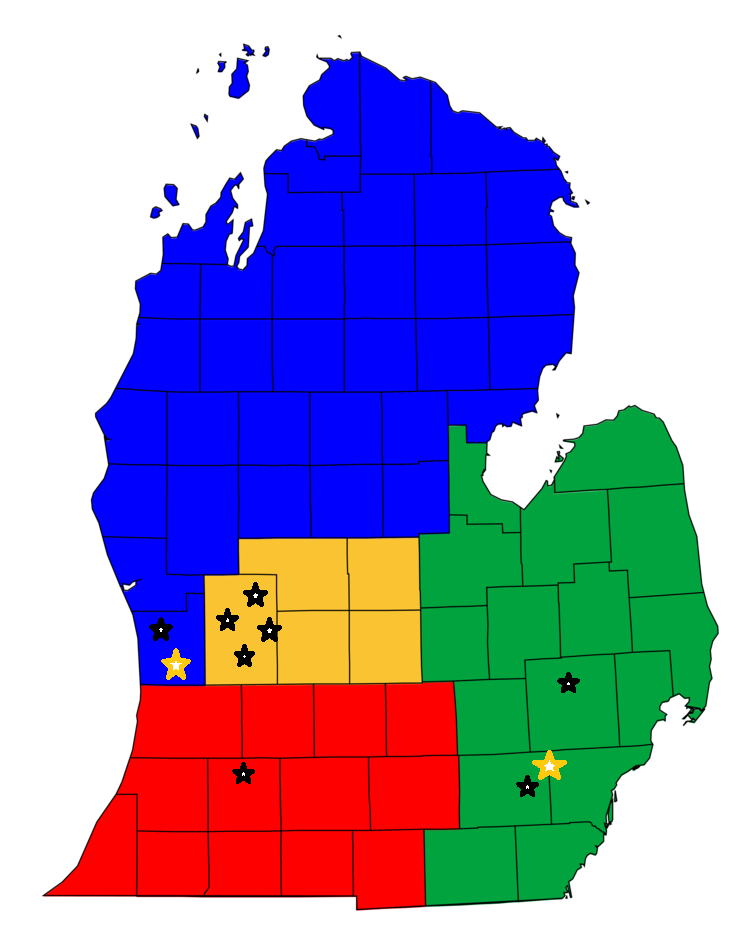 State of Michigan with black stars for OS and Yellow for offices.png