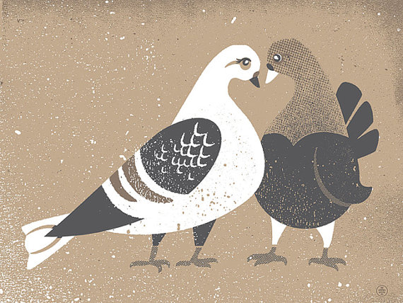 Pigeon Screen Print Love by Two Arms