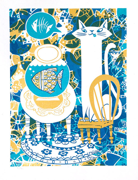 Hungry Cat Screen Print by GoGoPicnic