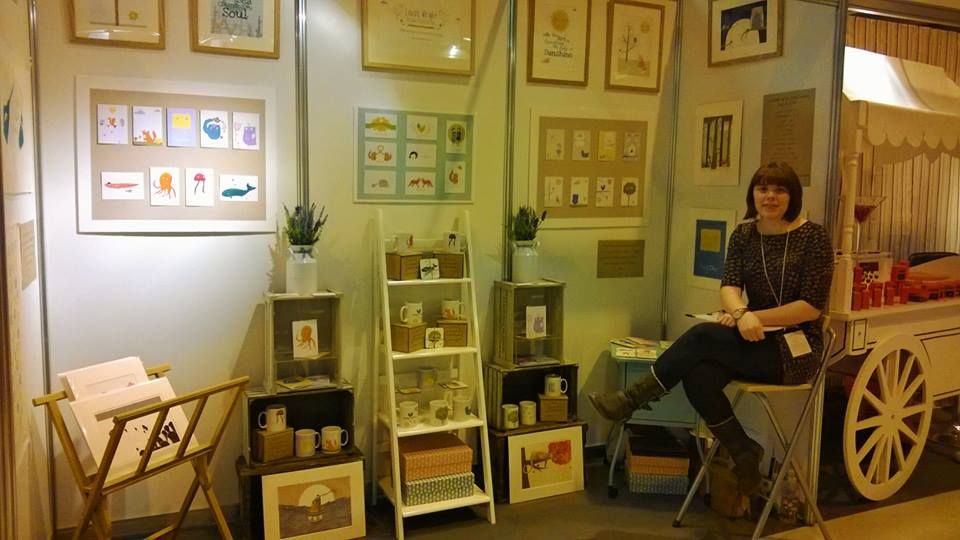 Me on my stand at Spring Fair having a cheeky sit down! :) Photo by Rhea Clements