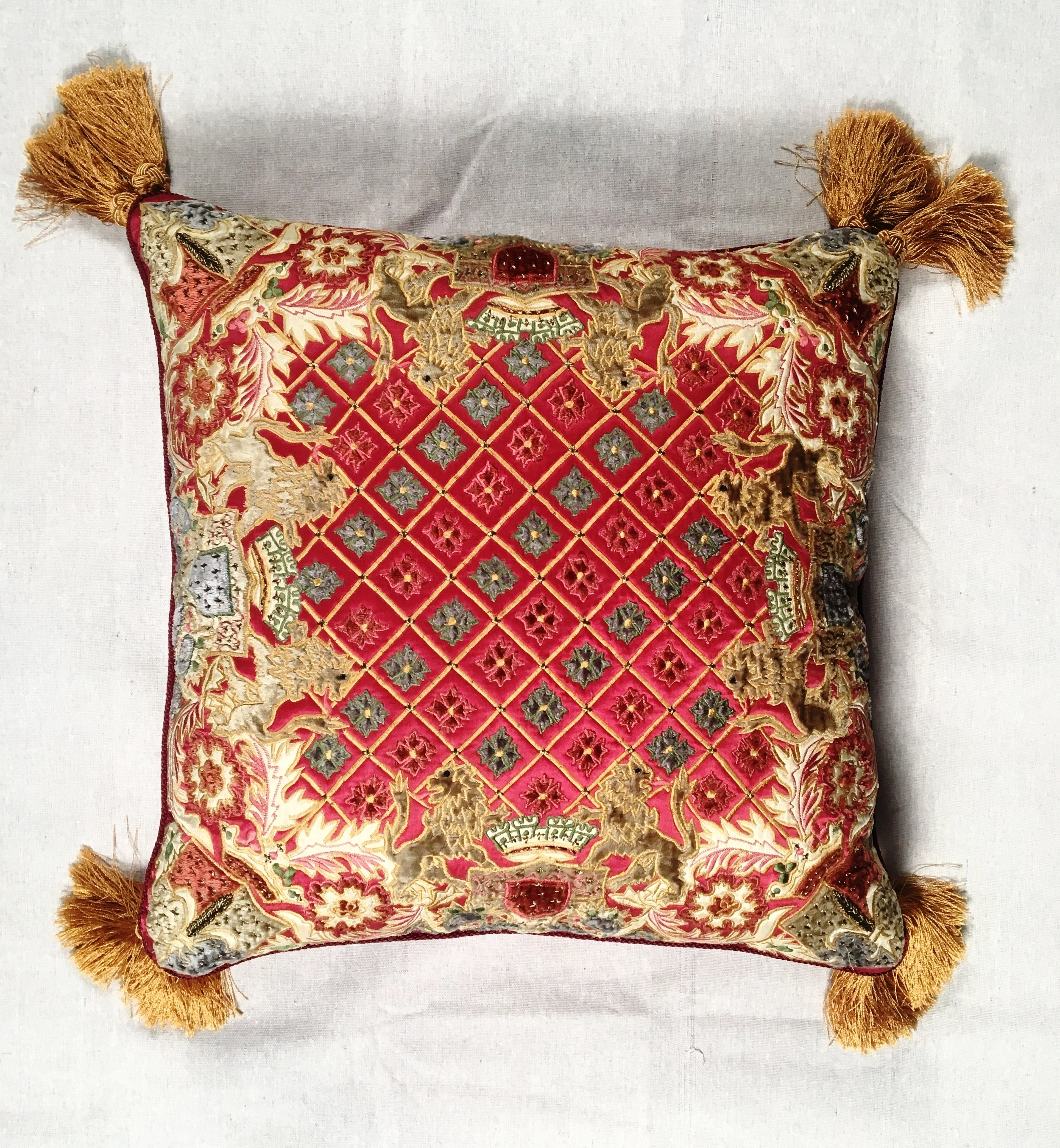 Vintage Chenille Silk Embroidered Pillow With Fringe Ctlst