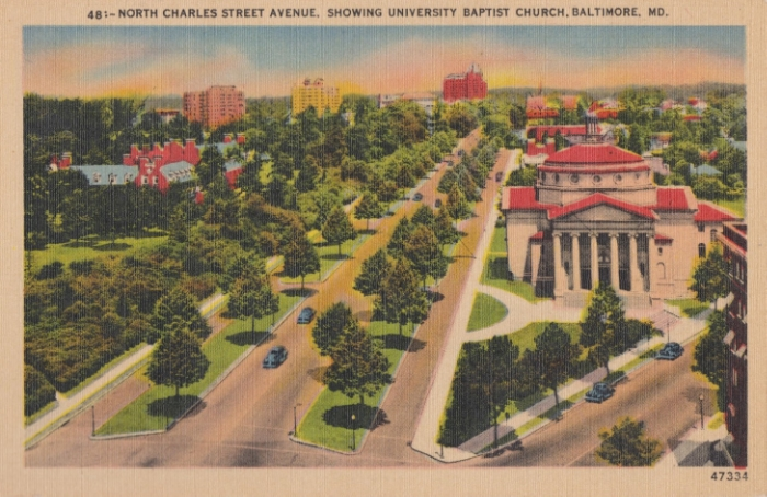 A postcard of University Baptist Church - mailed in 1949