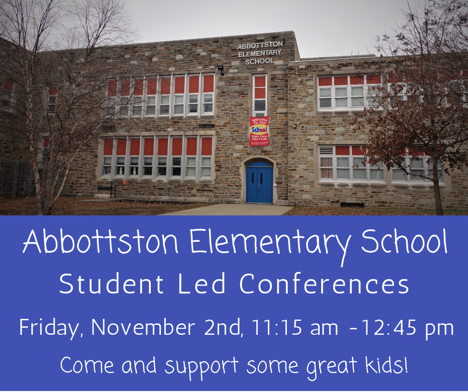 Abbottston Elementary needs adult volunteers to meet one on one with their students so that they can show off their work. There will be two rounds of conferences, so if you can't stay for the whole time that's okay. You do not need to sign up ahead of time, just come to the school at 1300 Gorsuch Avenue. Come meet the scholars, encourage them, and let them brag a little about their academic accomplishments!