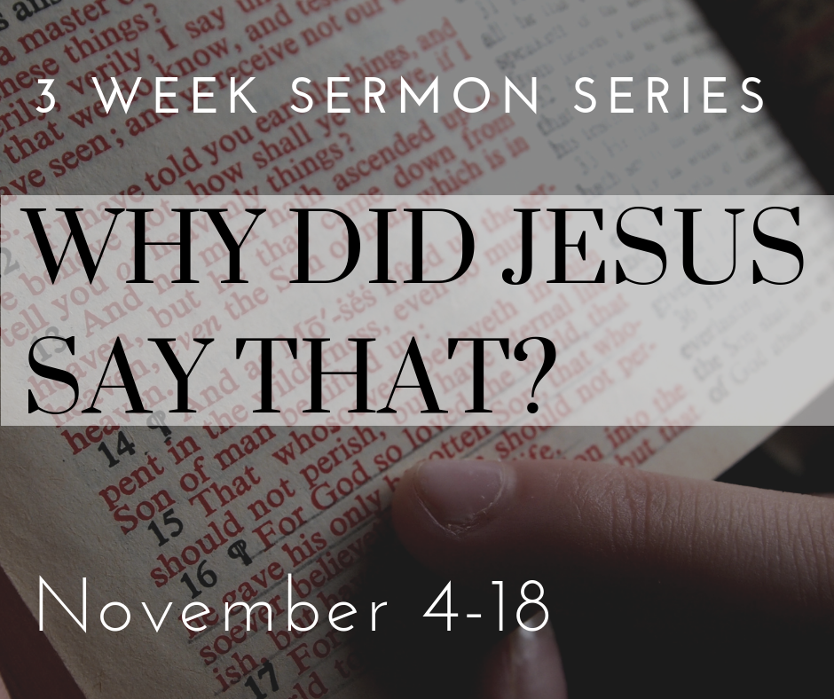 "This series focuses on some of the hard sayings of Jesus – that is, on some of the things he said that can be real ""head-scratchers."" We can sometimes tend to push back against these hard sayings, but if we understand them and yield to them, we can more faithfully live the way in which Jesus has called us to live."