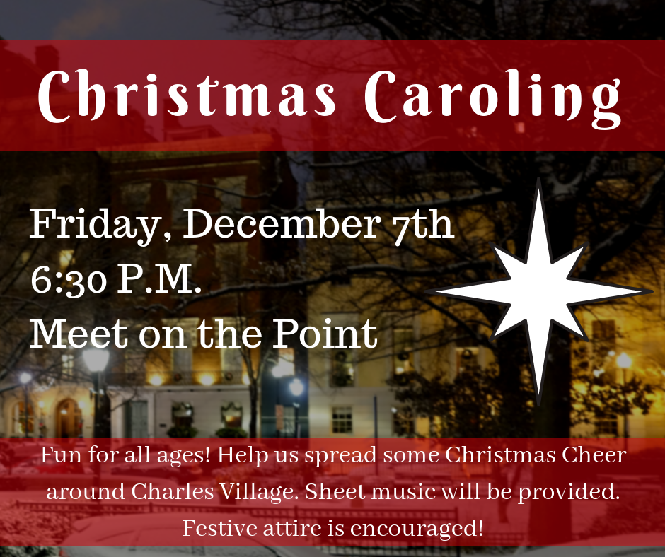 The best way to spread Christmas cheer is singing loud for all to hear! Come and sing some of your favorite carols around the businesses and restaurants in Charles Village. We will meet at the Point to sing our first few songs and warm up. Music will be provided, and festive attire is encouraged!